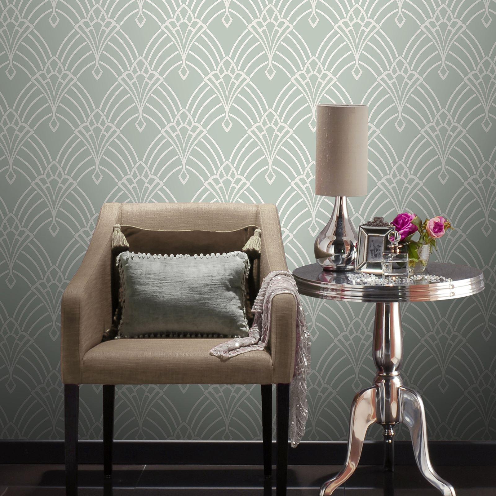 Rasch Astoria Art Deco Geometric Wallpaper Glitter Silver Gold White
