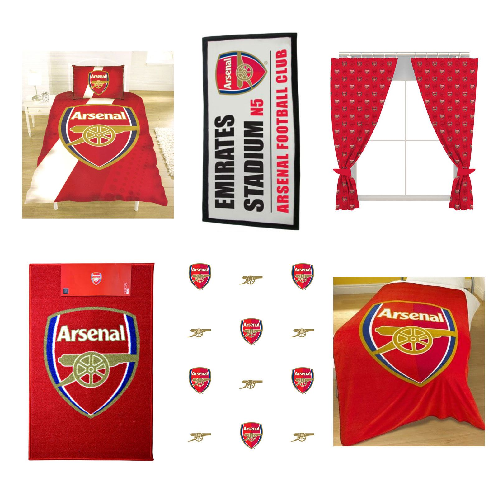 ARSENAL FOOTBALL BEDROOM ACCESSORIES TOWELS WALLPAPER RUG