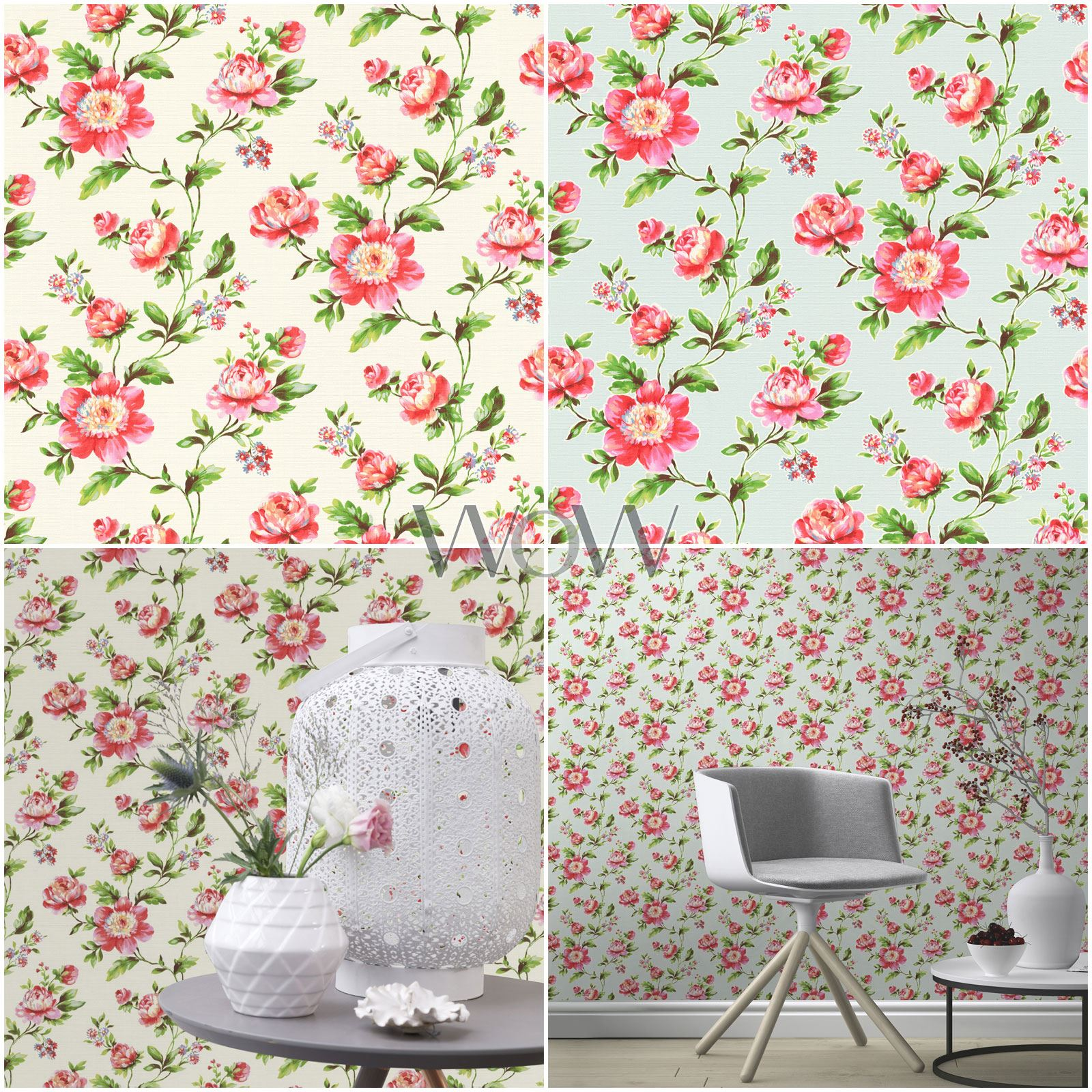 Shabby Chic Bedrooms Adults: RASCH SHABBY CHIC ROSE FLORAL WALLPAPER TEXTURED