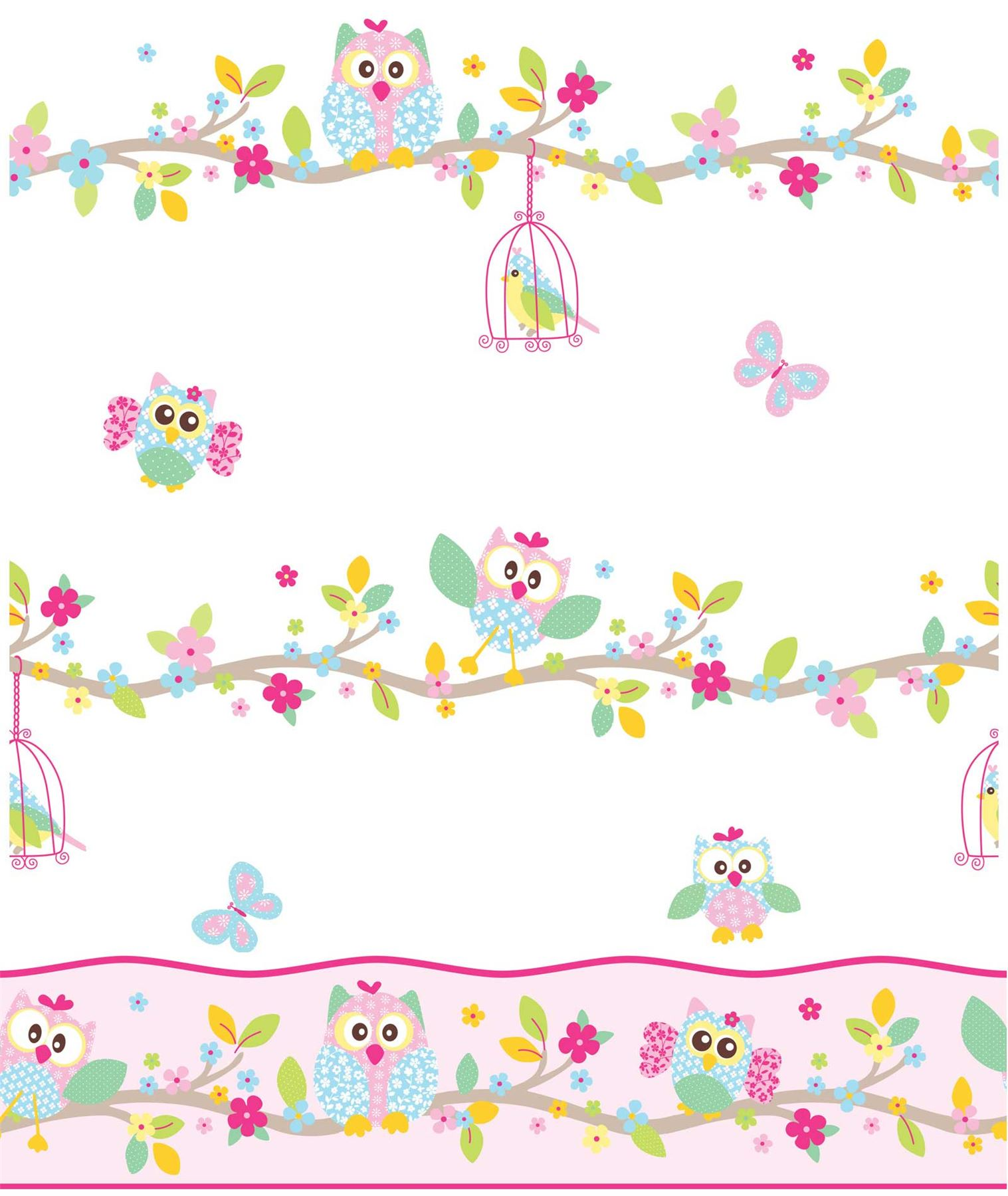 Details about PATCHWORK OWL WALLPAPER AND BORDER - WHITE PINK PASTEL BEDROOM NURSERY