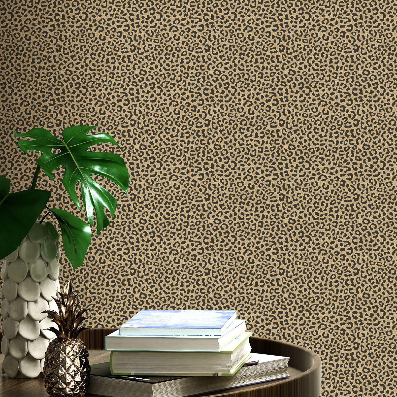 Limited 215311 Rasch 215311-Papel Pintado RASCH Color Negro y Dorado U.K dise/ño de Leopardo 10 m