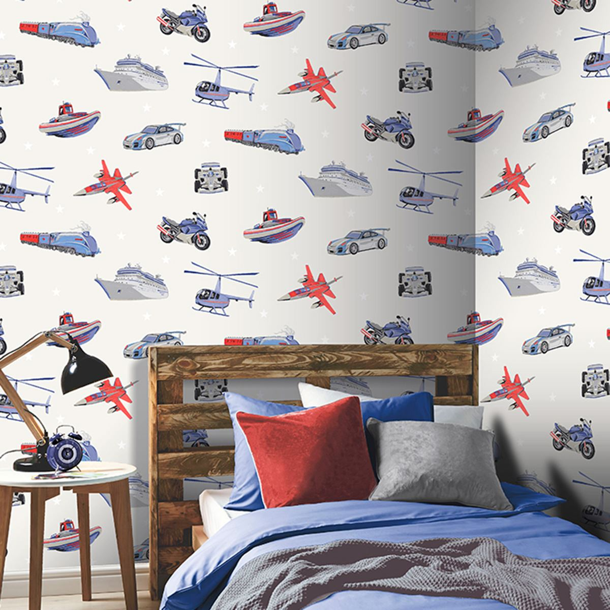 Diy Boy Bedroom Ideas Bedroom Wallpaper Designs Bedroom Sets Decorating Ideas Brown Black And White Bedroom: ZOOM AWAY VEHICLES WALLPAPER ARTHOUSE CARS MOTORBIKE BOYS
