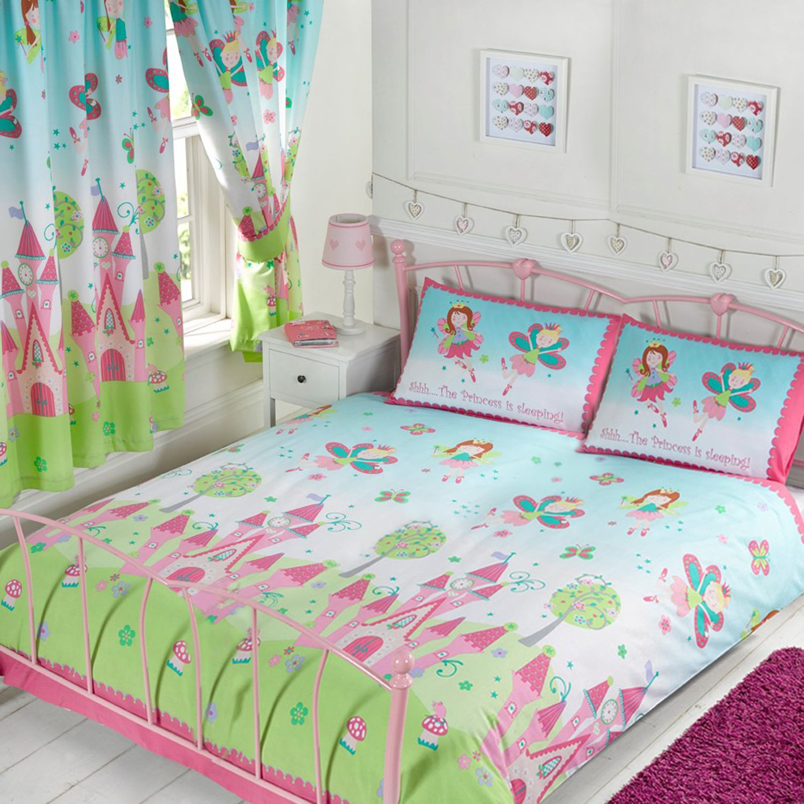 GIRLS DOUBLE DUVET COVER SETS UNICORNS BUTTERFLIES OWLS PUG