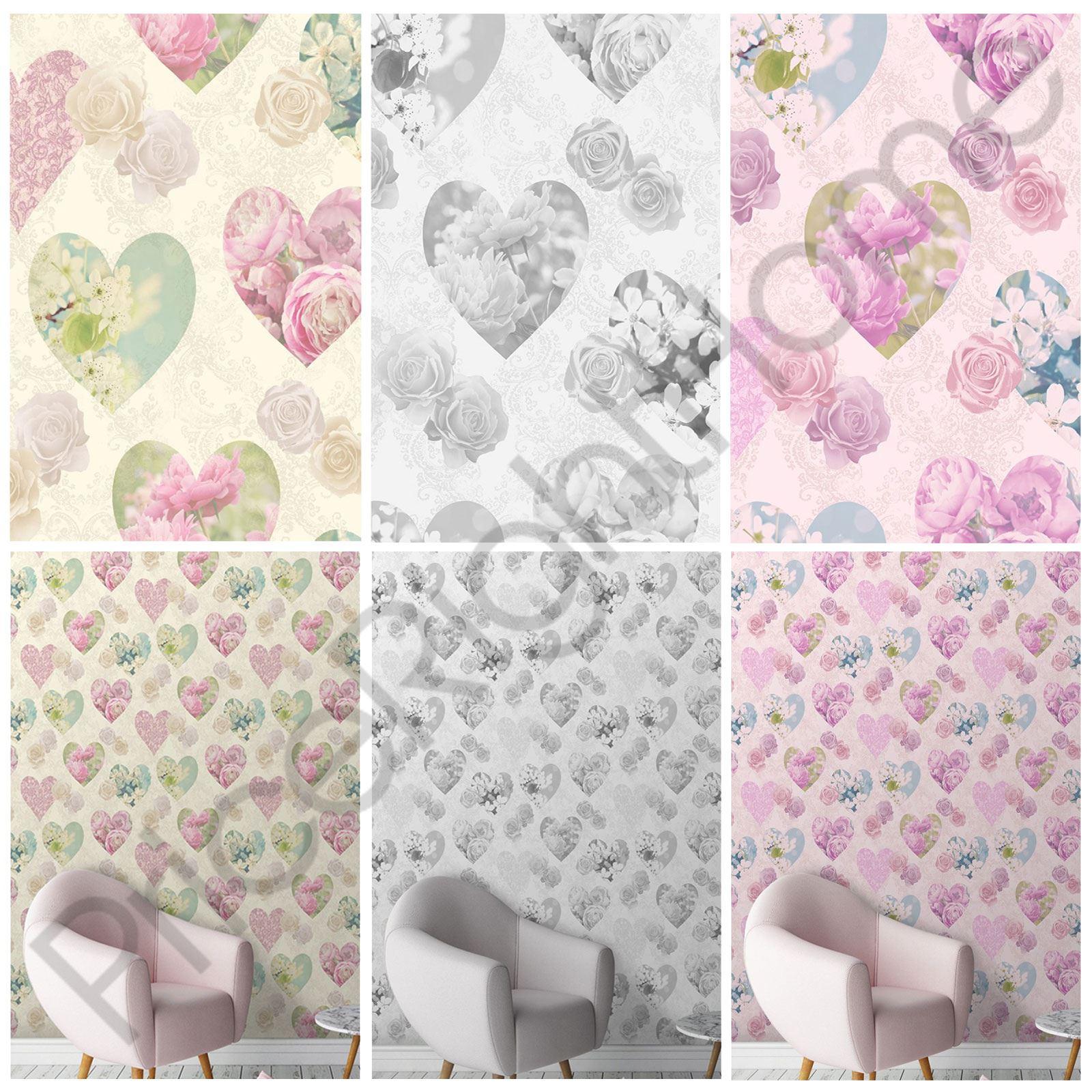 blumenmuster hearts tapete fine decor wandtapete grau lila creme neu ebay. Black Bedroom Furniture Sets. Home Design Ideas