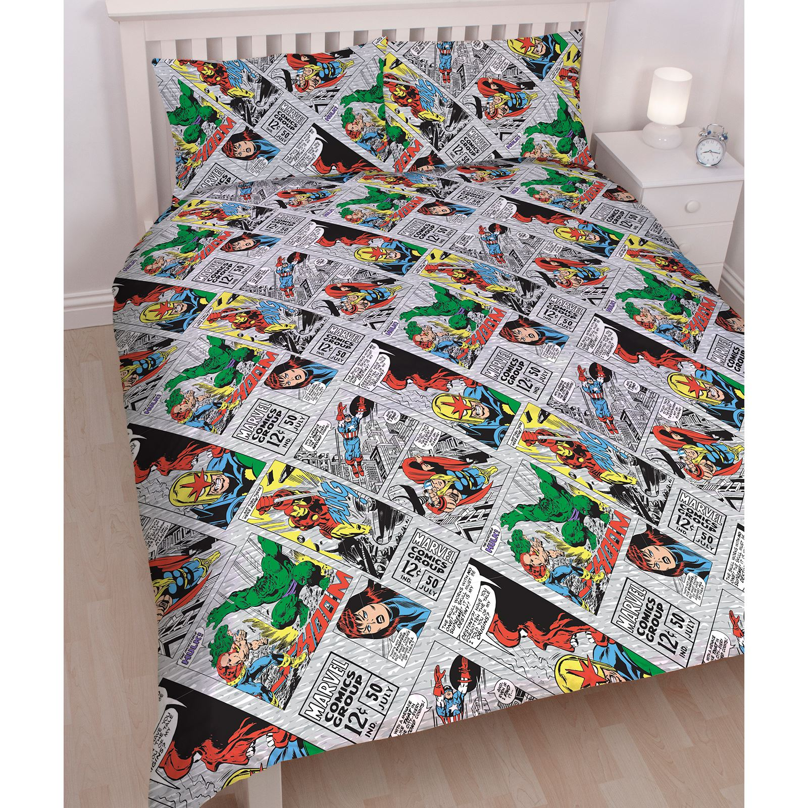 MARVEL COMICS RETRO DOUBLE DUVET COVER SET REVERSIBLE KIDS BEDDING ... : marvel quilt cover - Adamdwight.com