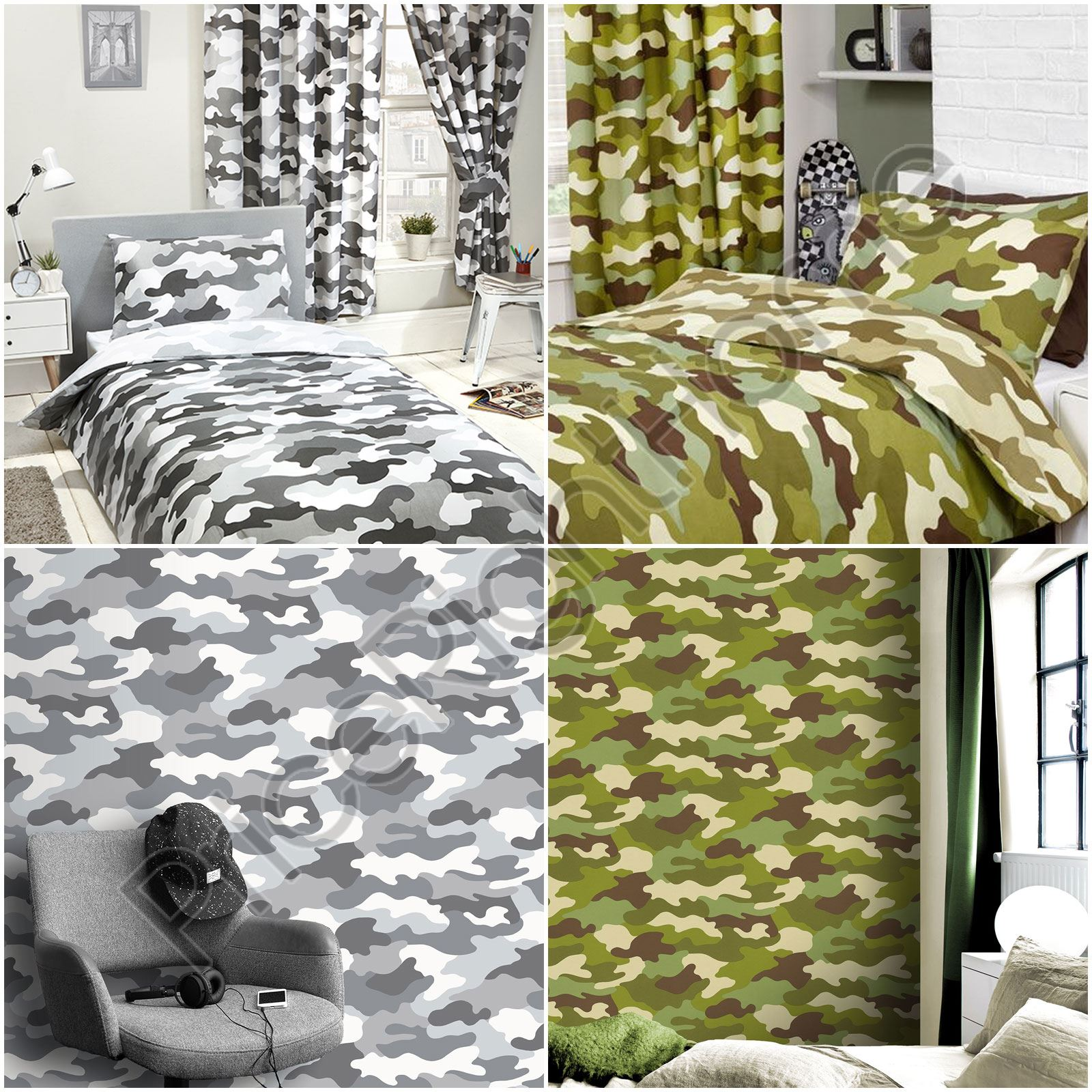 Army Camouflage Green Grey Duvet Cover Set Single Double
