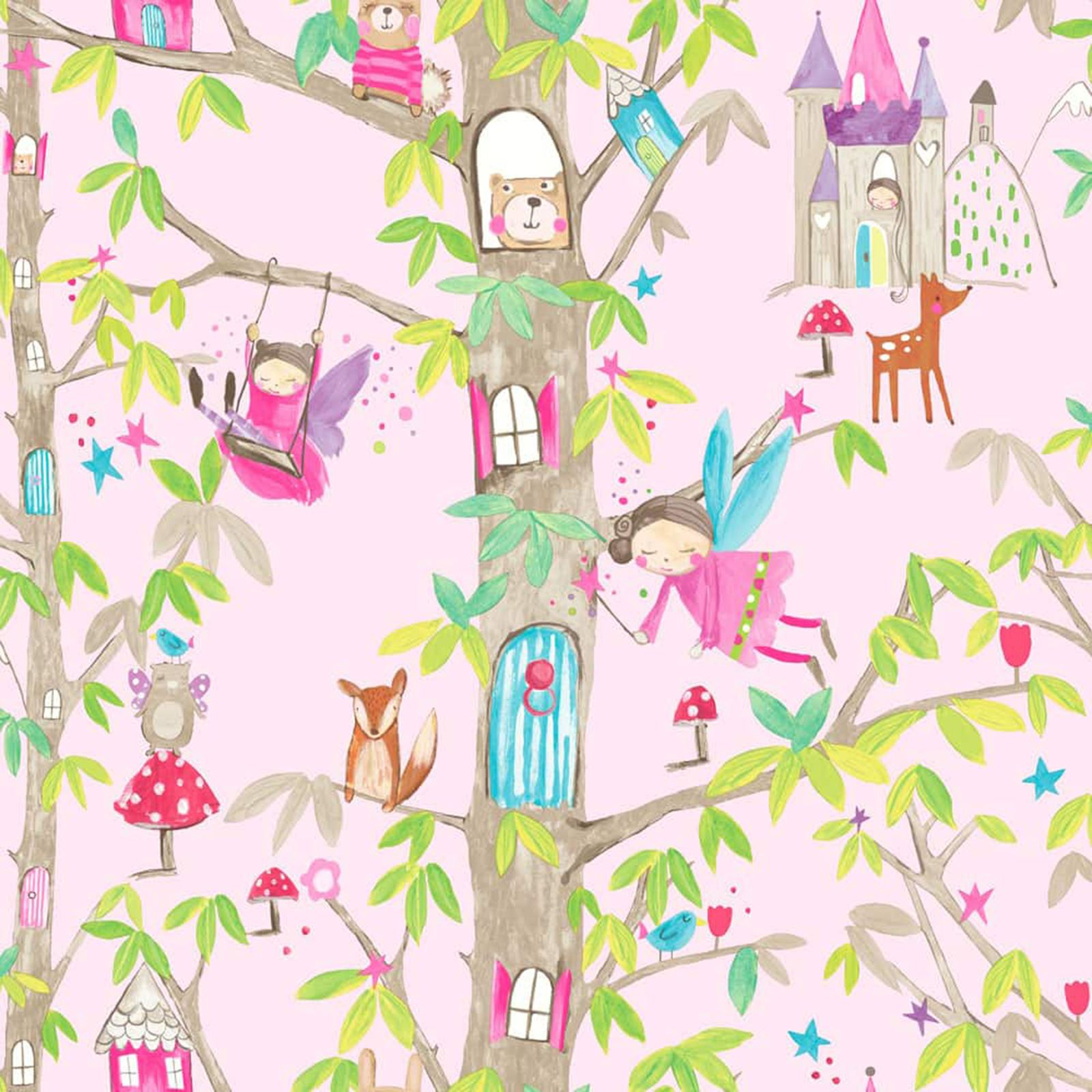 KIDS CHILDRENS GIRLS PINK LILAC WALLPAPER UNICORN BUTTERFLY