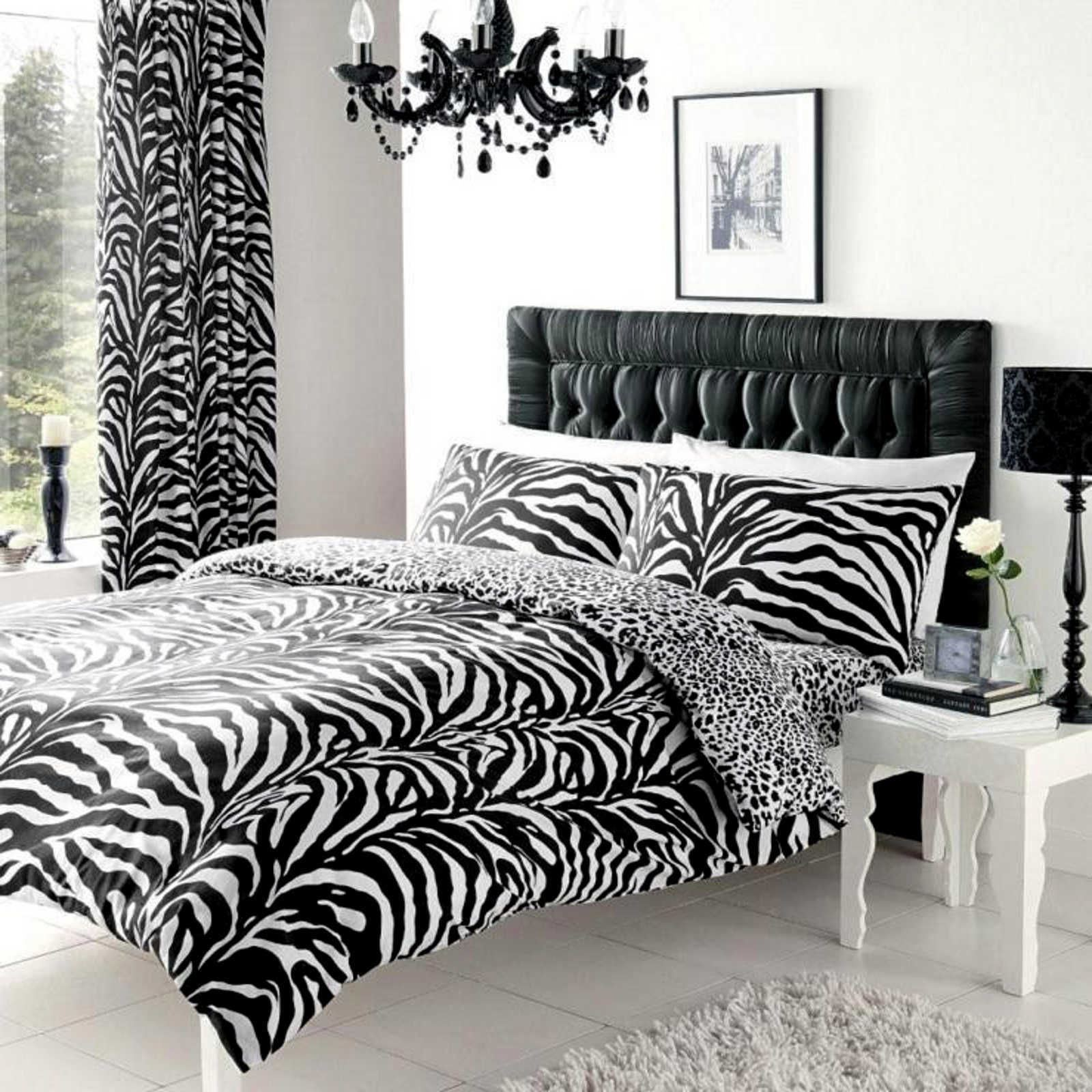 ZEBRA PRINT REVERSIBLE LEOPARD PRINT DUVET COVER AND PILLOWCASE SETS BEDDING