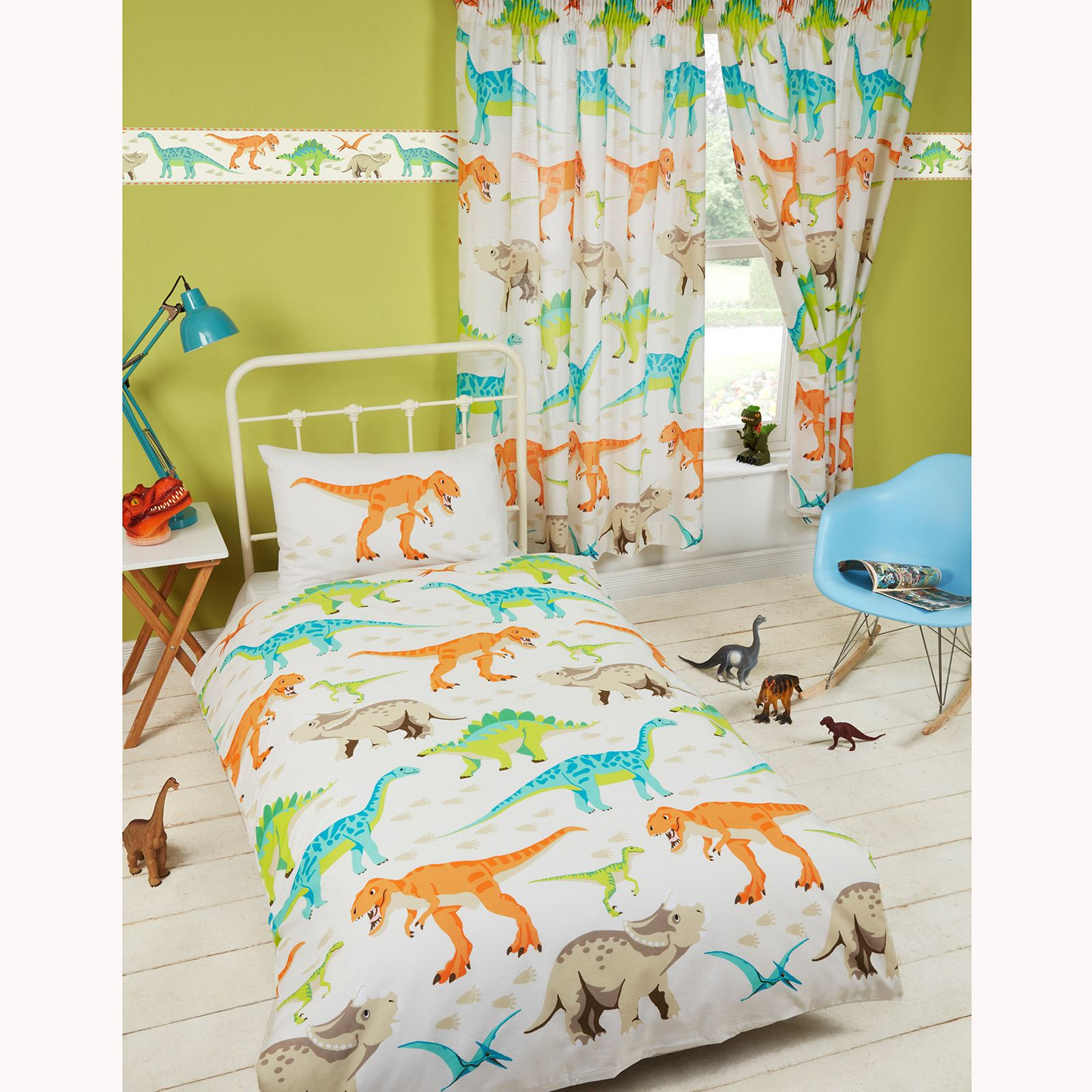 DINOSAUR WORLD KIDS MATCHING BEDDING SETS CURTAINS WALLPAPER