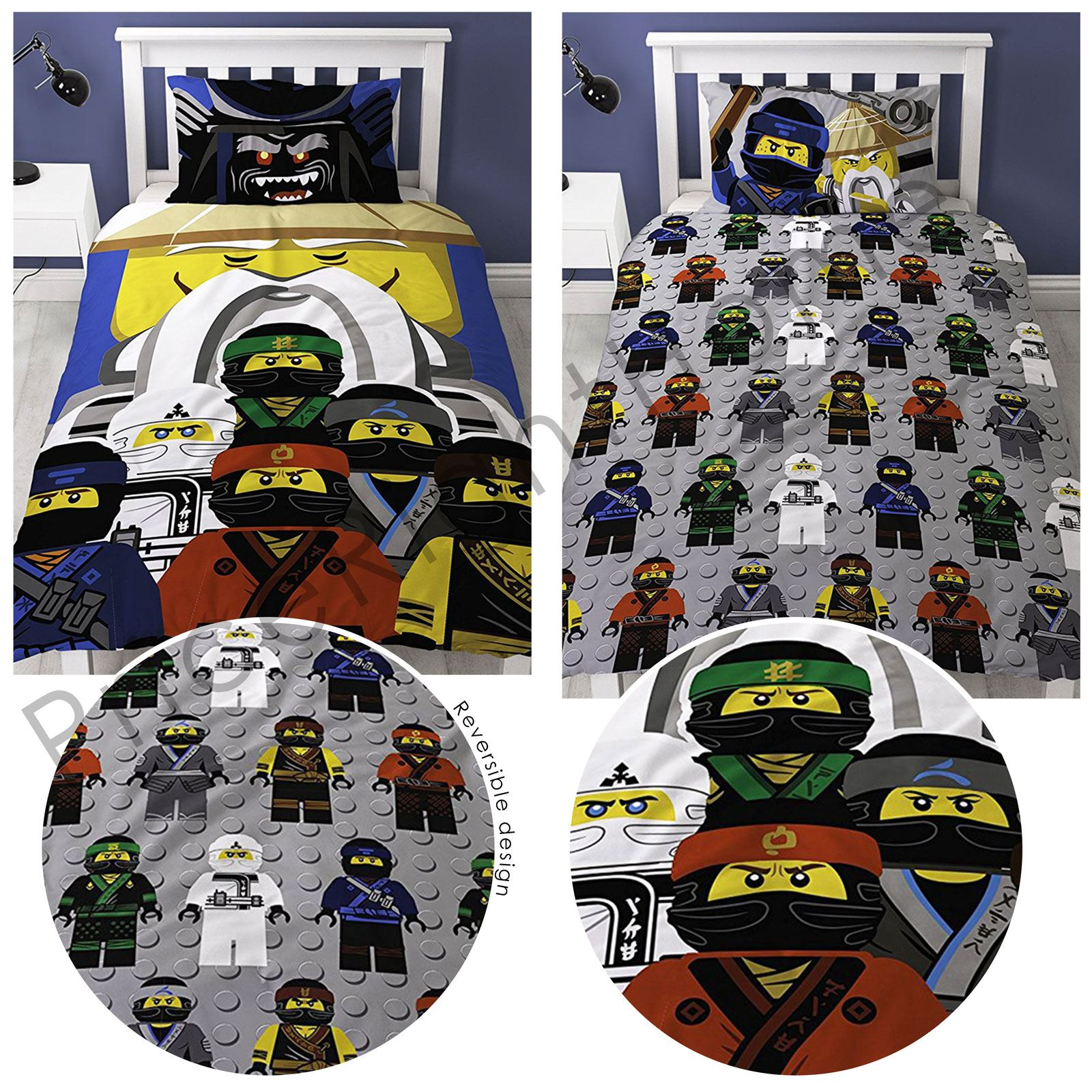 lego ninjago film guru einzelbettbezug set kinder 2 in 1 design ebay. Black Bedroom Furniture Sets. Home Design Ideas
