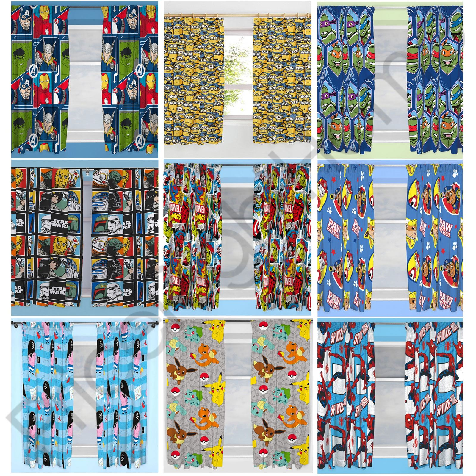 DISNEY & CHARACTER BOYS CURTAINS BEDROOM MARVEL PAW PATROL