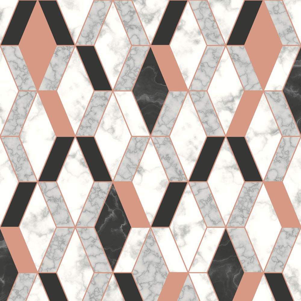 16 Rose Gold And Copper Details For Stylish Interior Decor: GEOMETRIC MARBLE WALLPAPER COPPER ROSE GOLD BLACK
