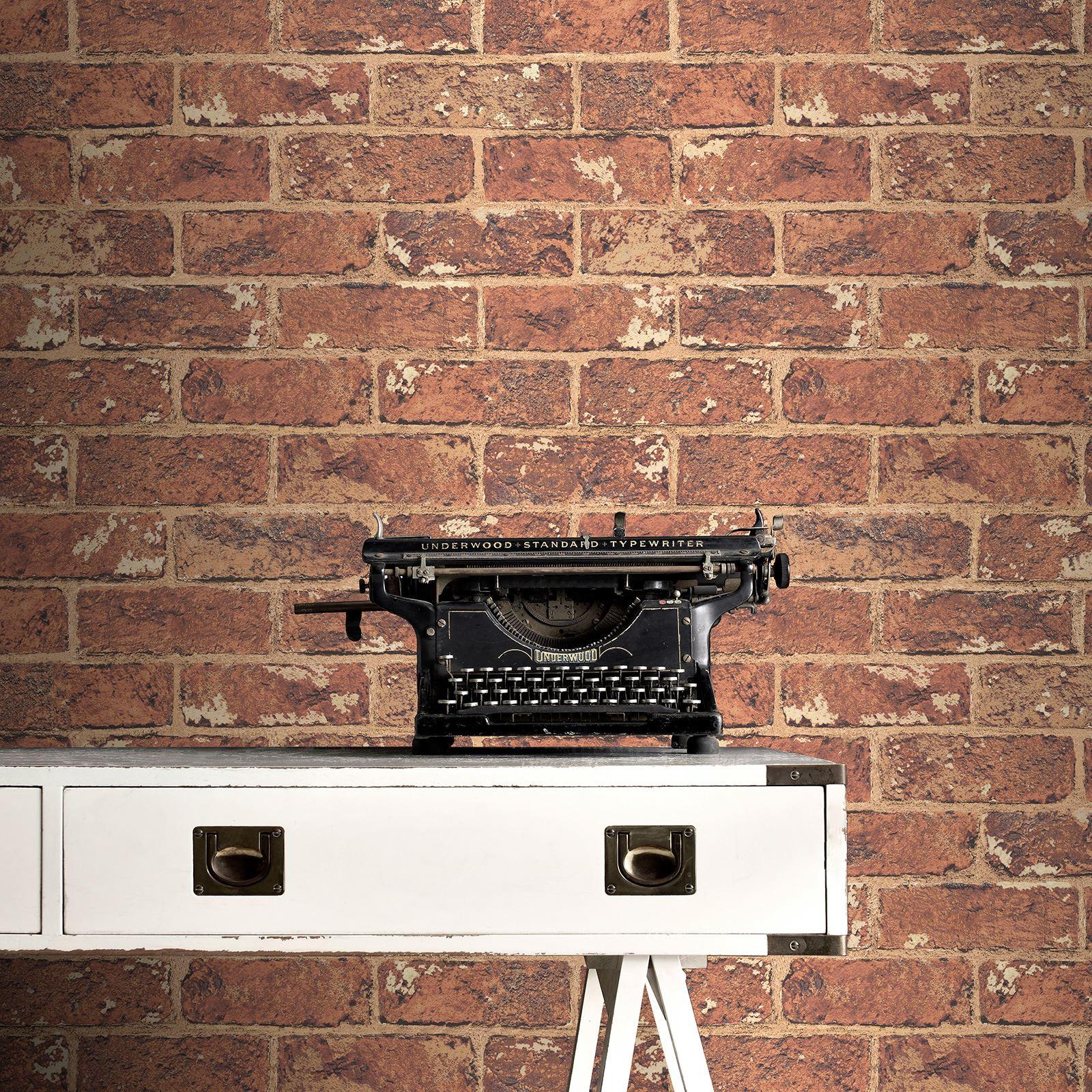 Exklusiv ziegel tapete grau rot schlafzimmer lounge ebay for Schlafzimmer tapete grau