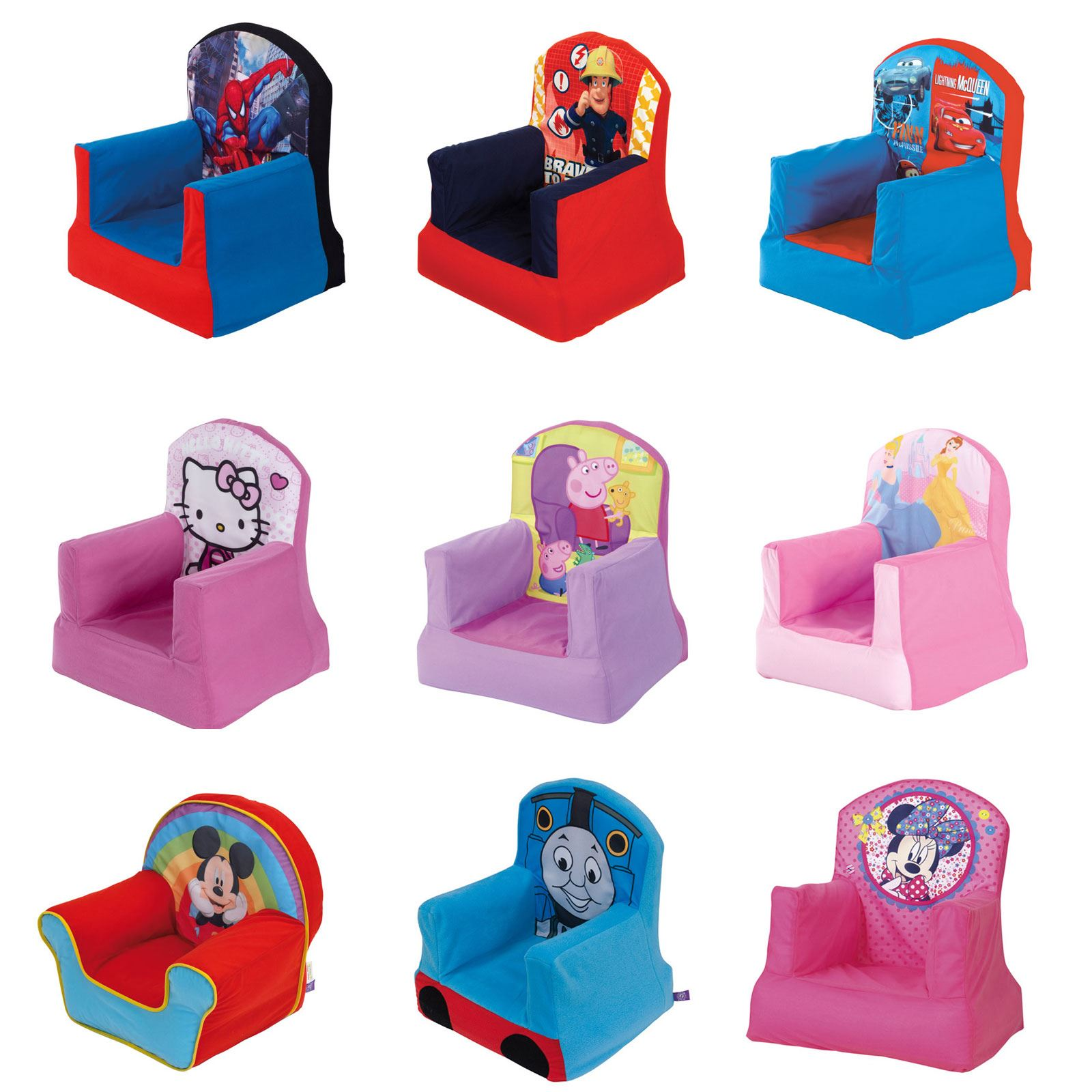 OFFICIAL DISNEY AND CHARACTER CHILDRENS COSY CHAIRS INFLATABLE BEDROOM  FURNITURE. OFFICIAL DISNEY AND CHARACTER CHILDRENS COSY CHAIRS INFLATABLE