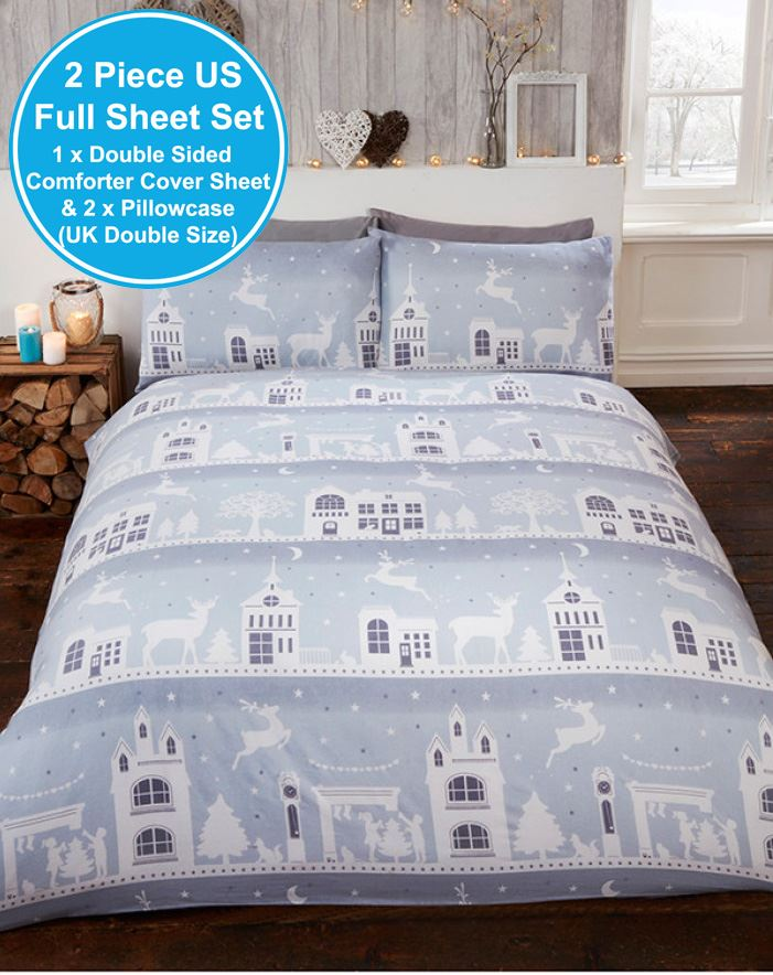 Reindeer Road Christmas Double Duvet Cover Set Grey Brushed Cotton
