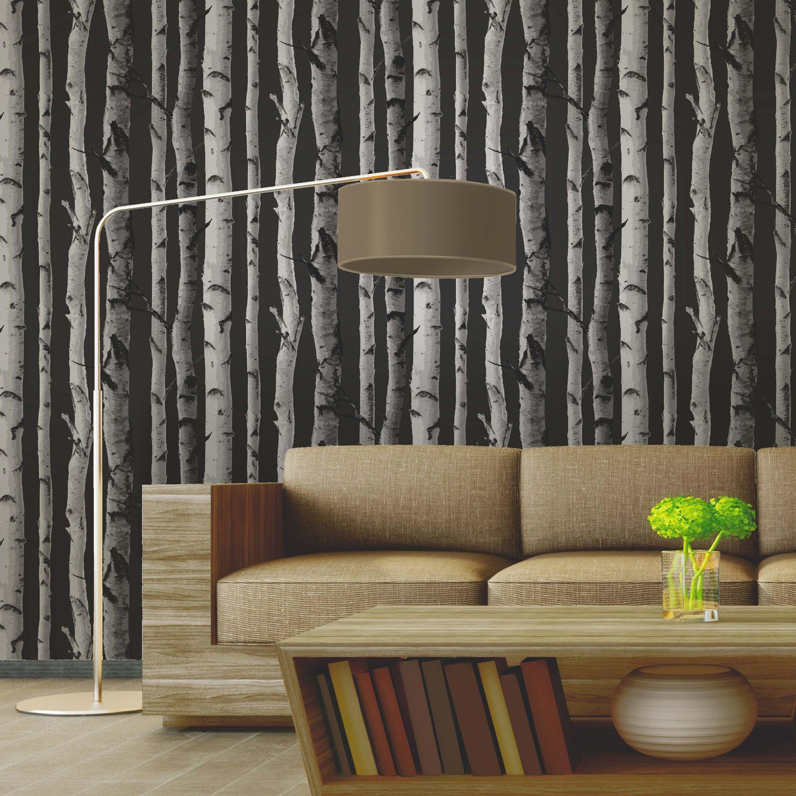 Fine decor abedul rboles papel pintado 10m negro y - Arboles decoracion interior ...