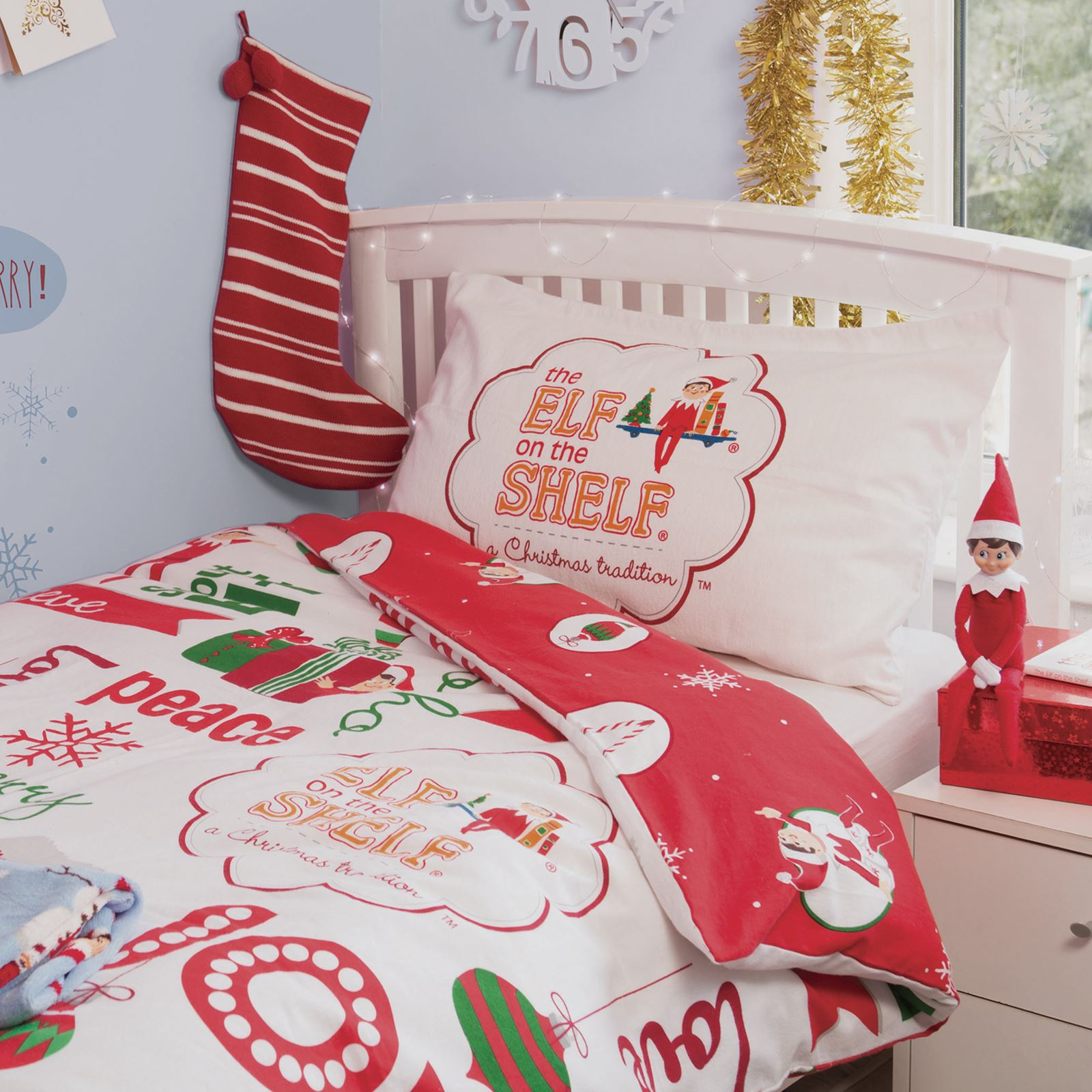 ELF ON THE SHELF JUNIOR DUVET COVER AND PILLOWCASE SET CHRISTMAS ...