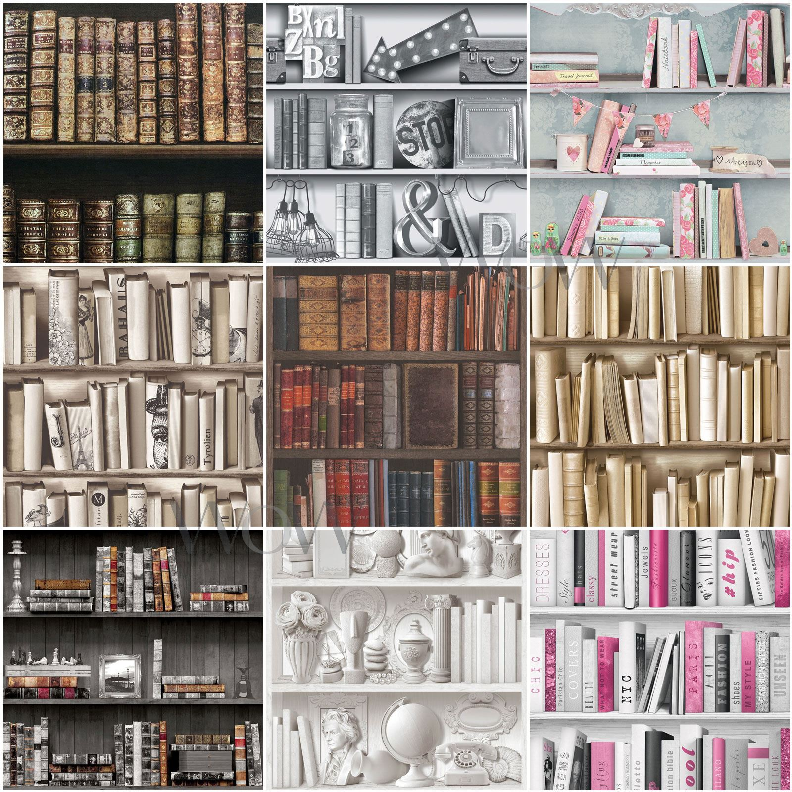 Details About Bookcase Wallpaper Antique Library Encyclopedia Gold Silver Black Pink Grey