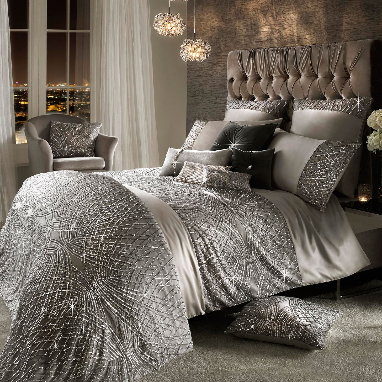 kylie minogue esta silver duvet covers pillowcases satin. Black Bedroom Furniture Sets. Home Design Ideas