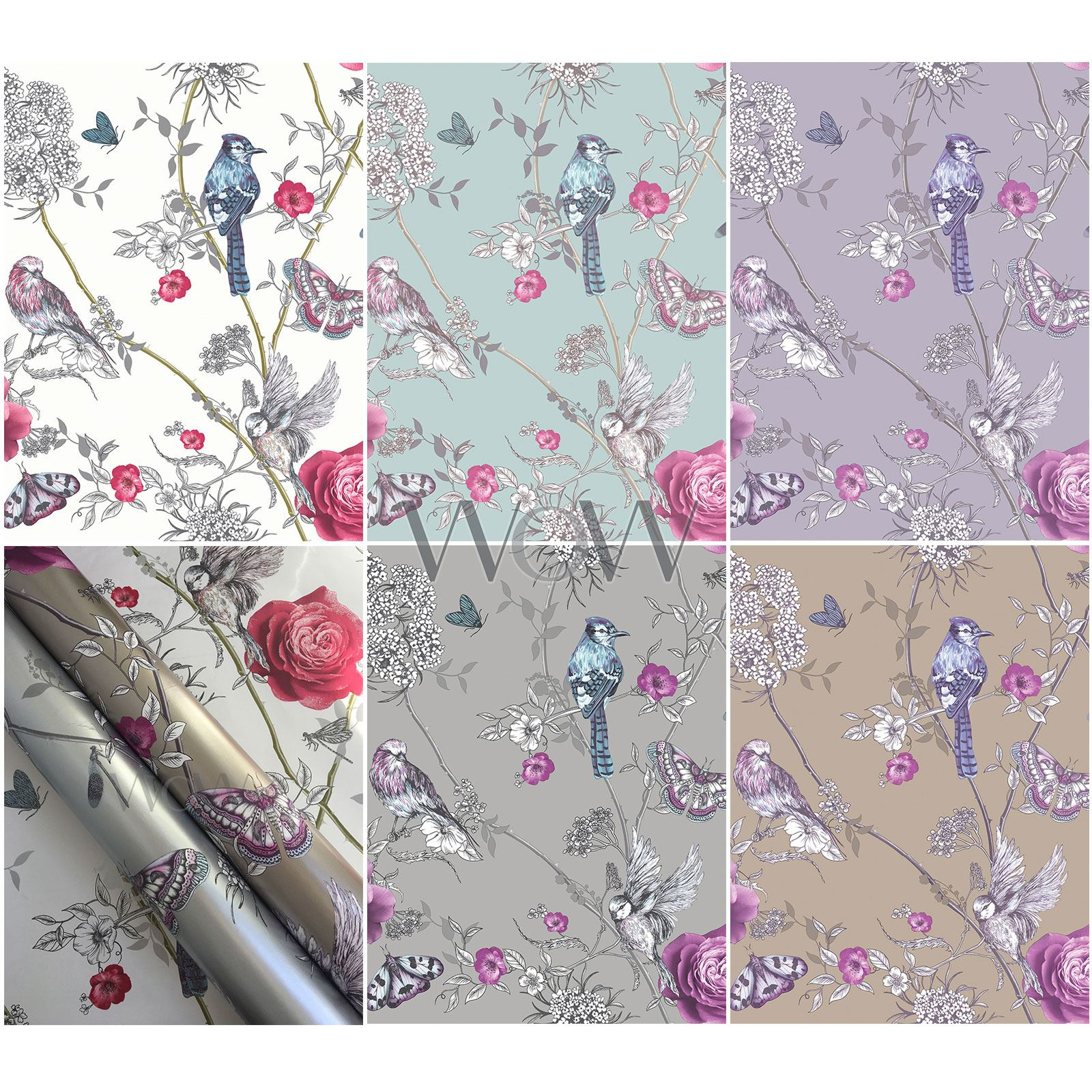 Arthouse Fantasia Paradise Garden Wallpaper Glitter Metallic Flowers Birds Ebay