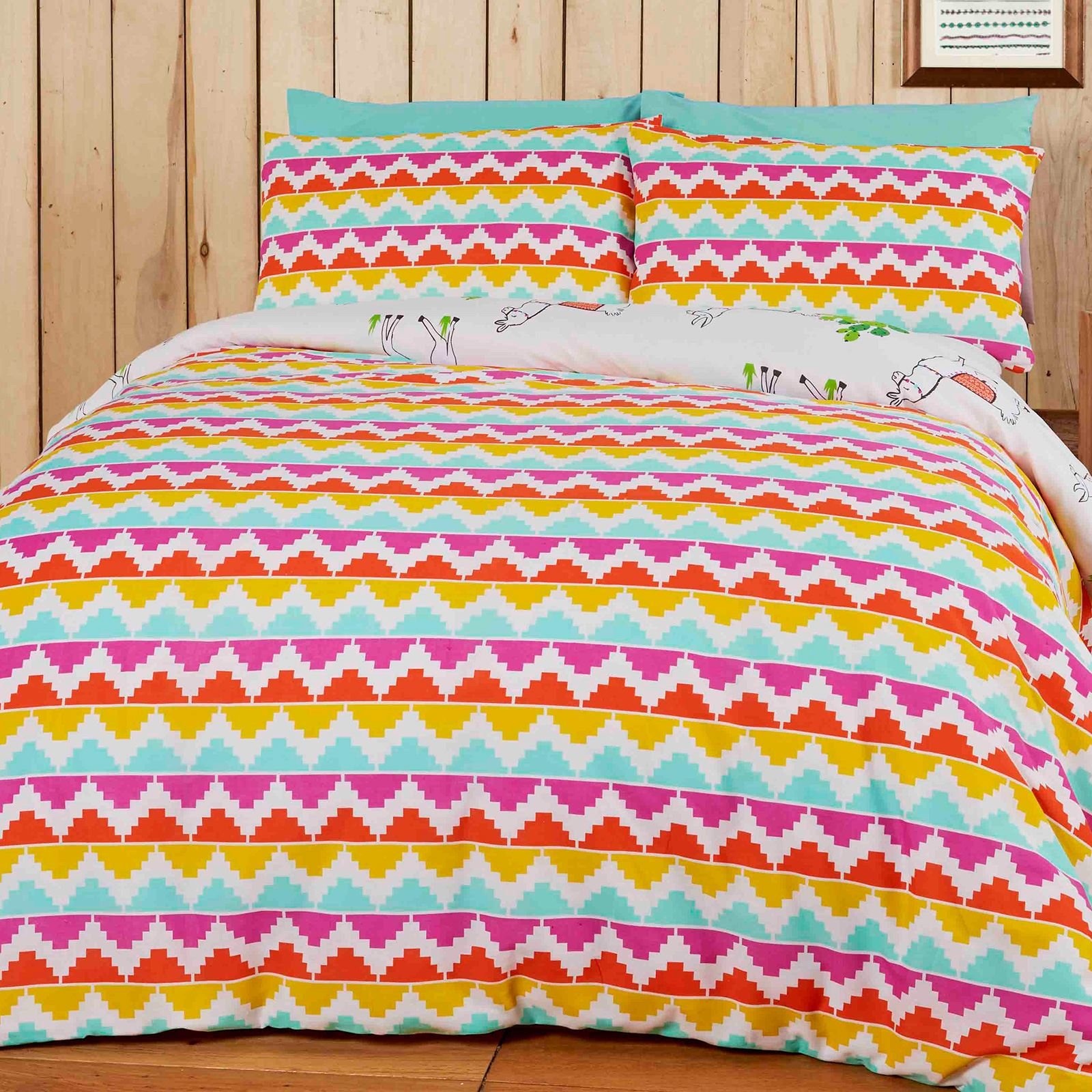 HAPPY LLAMAS DOUBLE DUVET COVER SET PERU AZTEC COLOURFUL BEDDING REVERSIBLE
