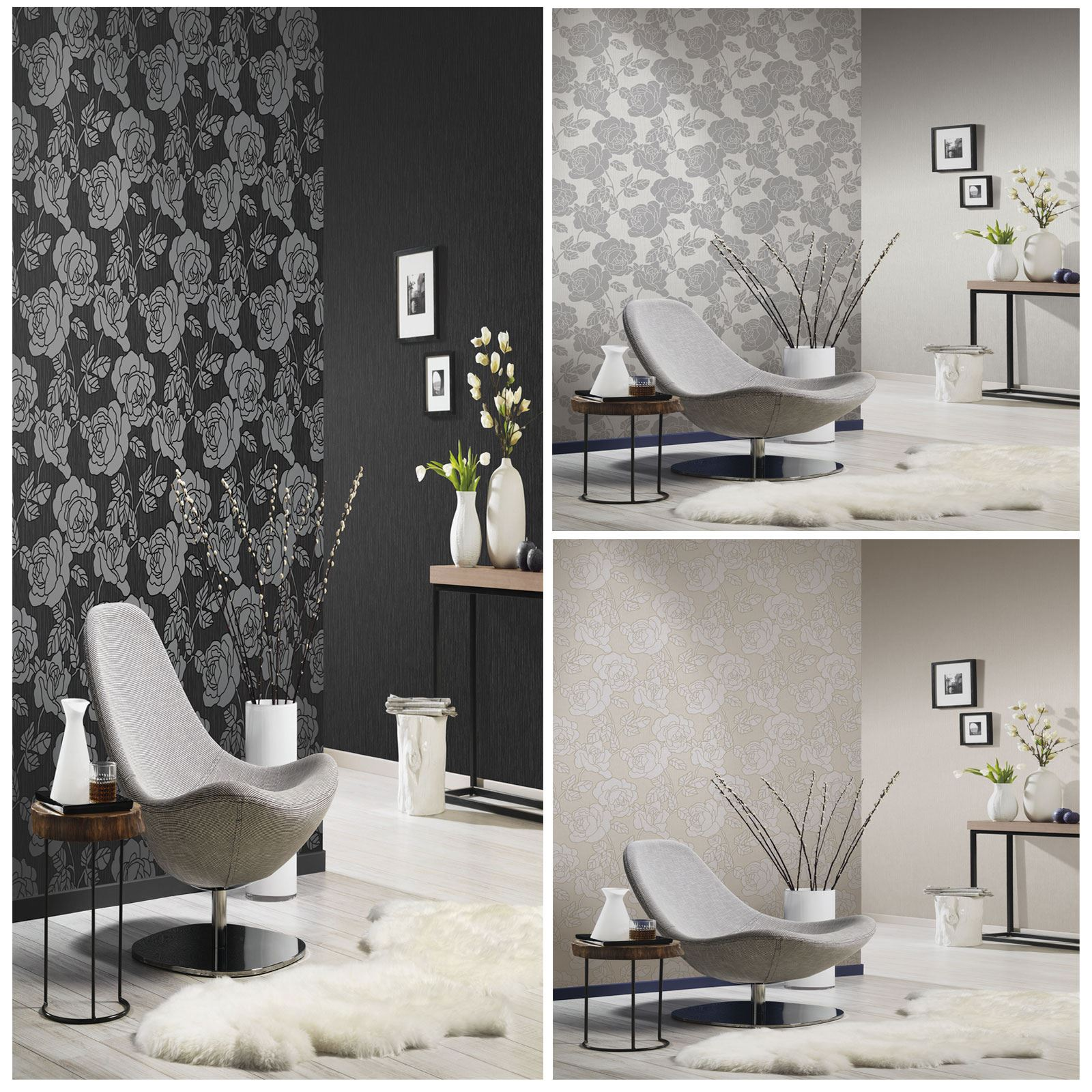 Charmant P+S OPAL FLORAL WALLPAPER WITH GLITTER HIGHLIGHTS BLACK GREY CREAM FEATURE  WALL