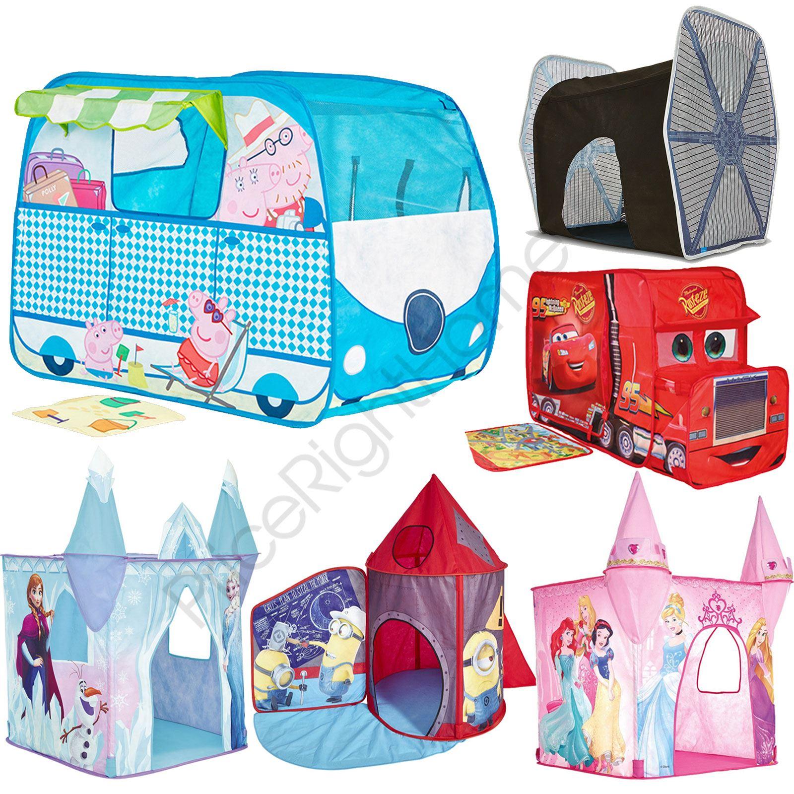 5ba56d31d5a1 Details about POP UP PLAY TENTS FEATURE KIDS DISNEY PRINCESS, FROZEN, CARS,  MINIONS FREE P+P