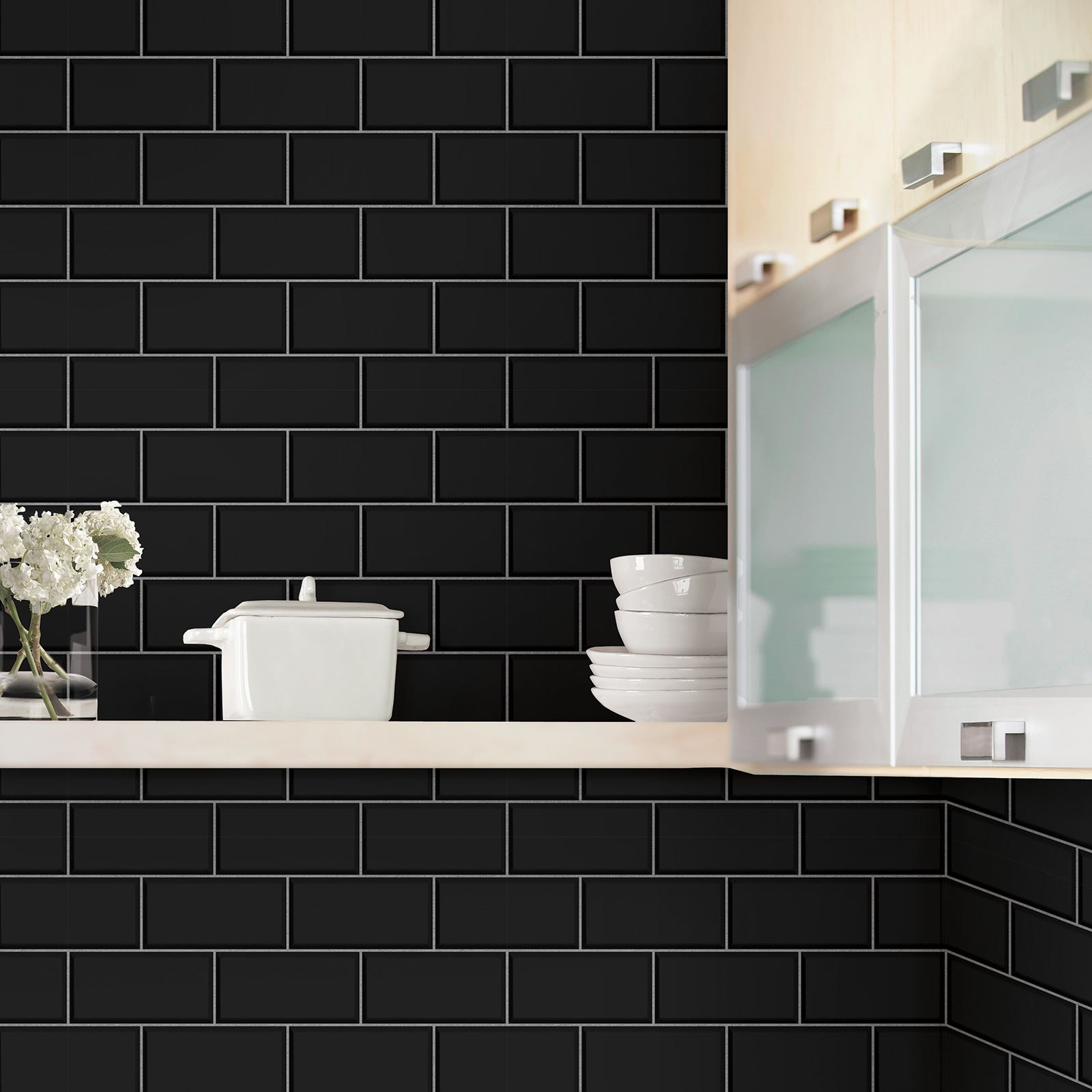 pictures of kitchen tiles subway tile effect wallpaper black decor fd40137 4219