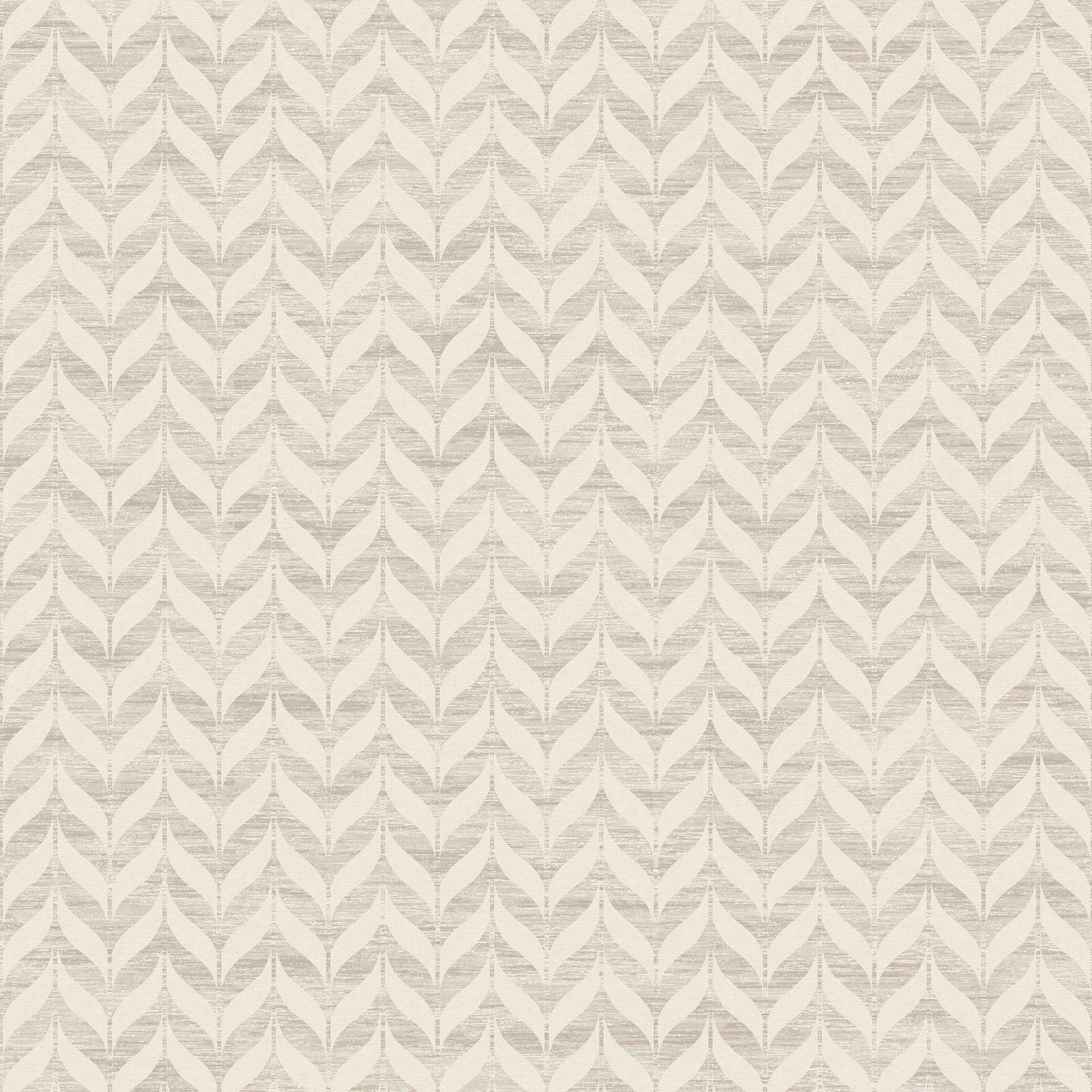 Incanto Leaf Geometric Wallpaper Neutral Beige Cream