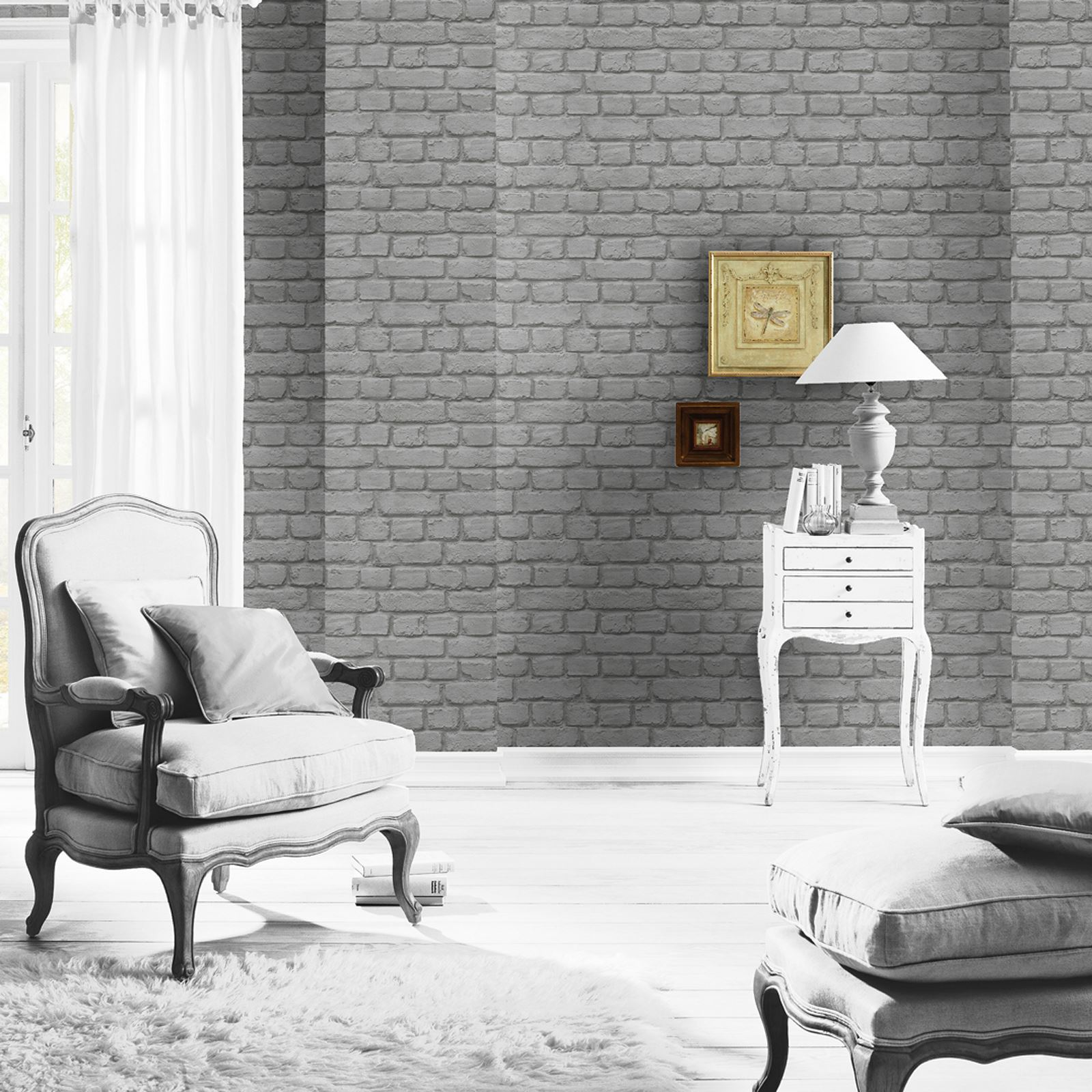 rasch fine decor 10m luxury brick effect wallpaper stone wall grey black red ebay. Black Bedroom Furniture Sets. Home Design Ideas