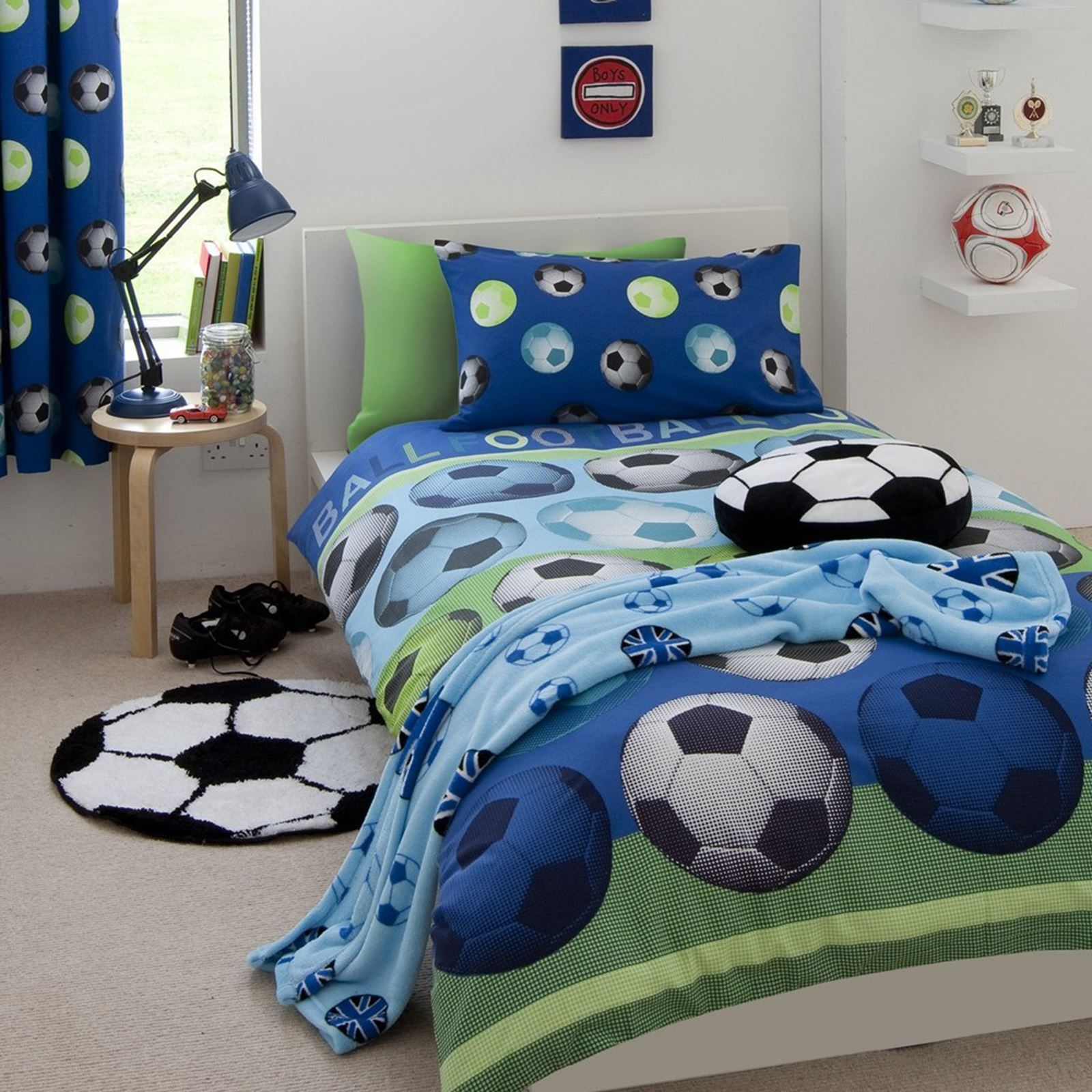 Details about CATHERINE LANSFIELD FOOTBALL SINGLE & DOUBLE DUVET COVERS RED  BLUE KIDS BEDDING
