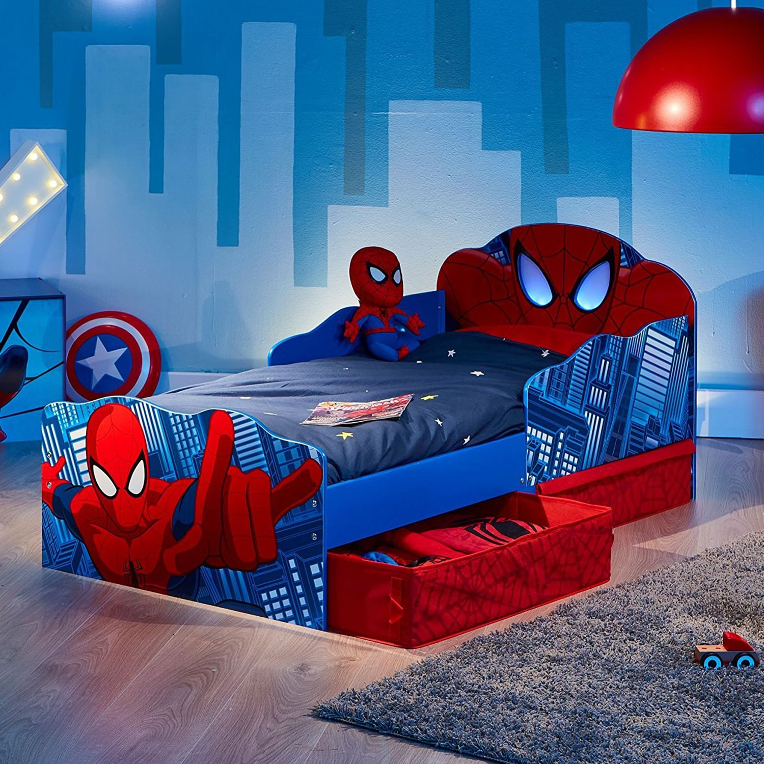 spiderman junior toddler bed with storage light up eyes mattress options ebay. Black Bedroom Furniture Sets. Home Design Ideas