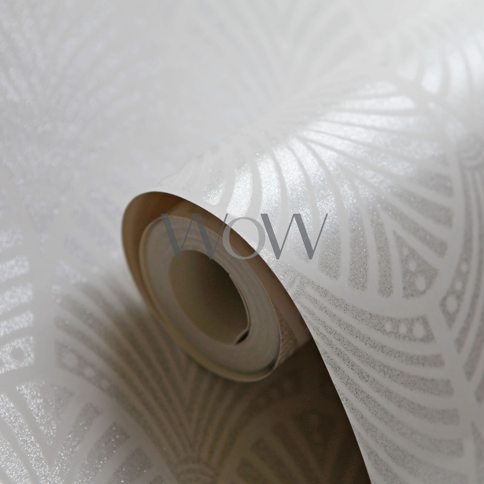 Gatsby Art Deco Paillete Papier Peint Gris Colombe Blanc Holden