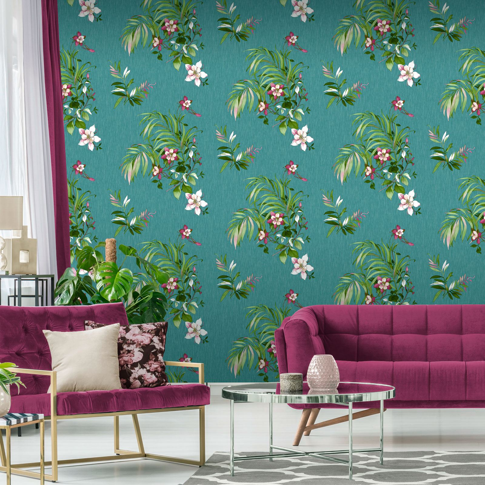 TEAL GREEN WALLPAPER GEOMETRIC FLORAL LEAVES ANIMALS METALLIC GLITTER /& MORE