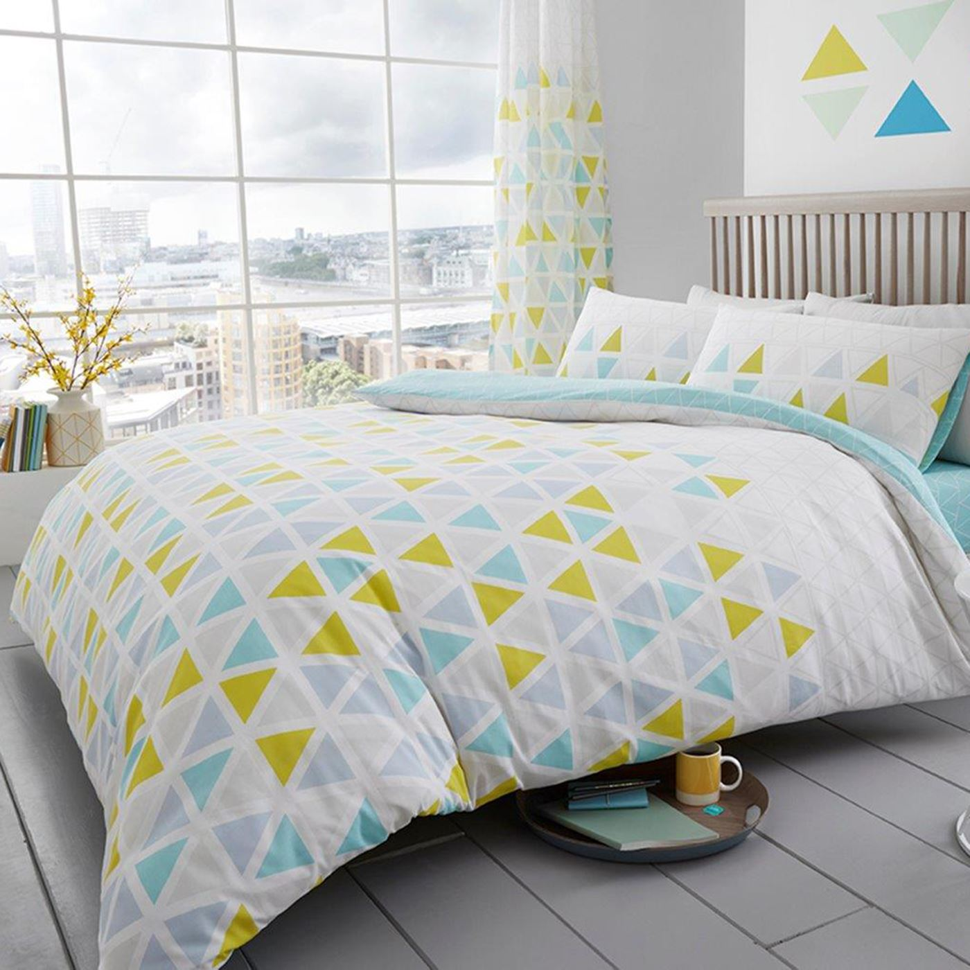 Geo-Triangle-Parure-de-lit-literie-Turquoise-Rose-Gris-Simple-Double-Et-King-Size