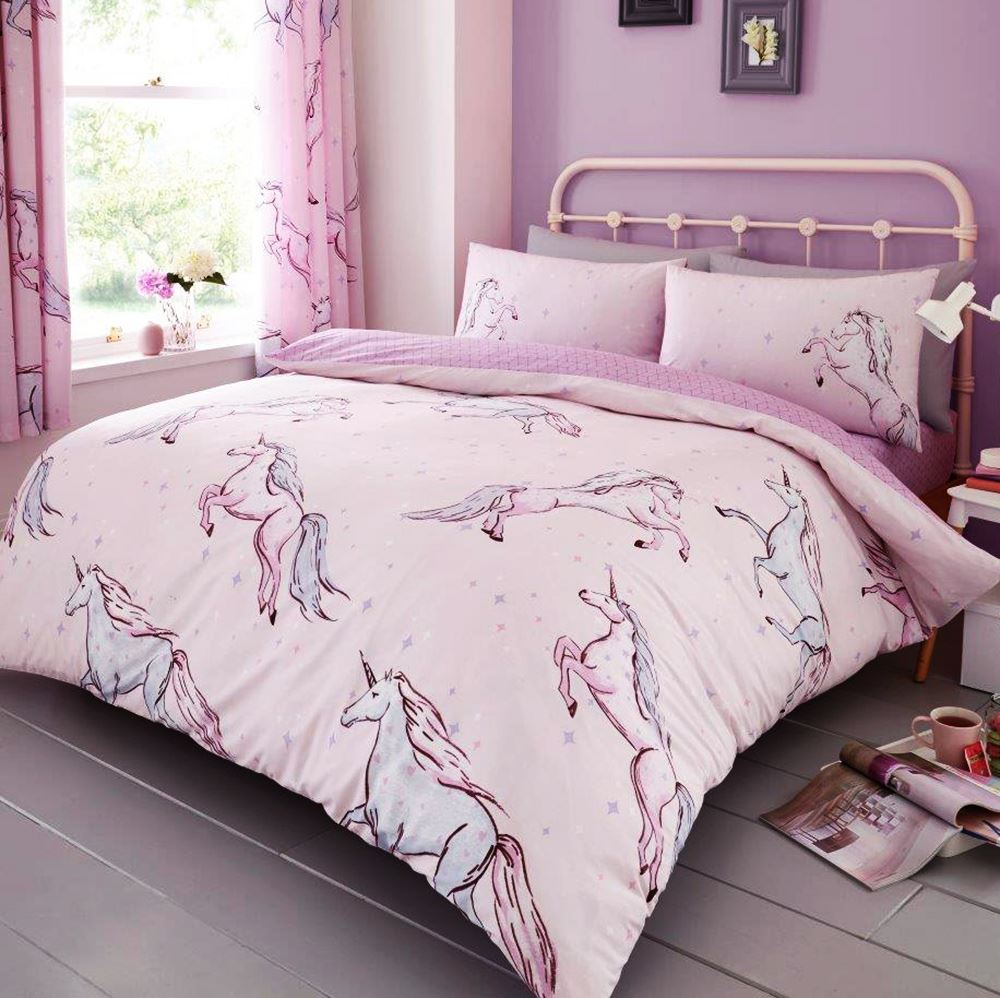 Star Unicorn Single Duvet Cover Set Reversible Bedding