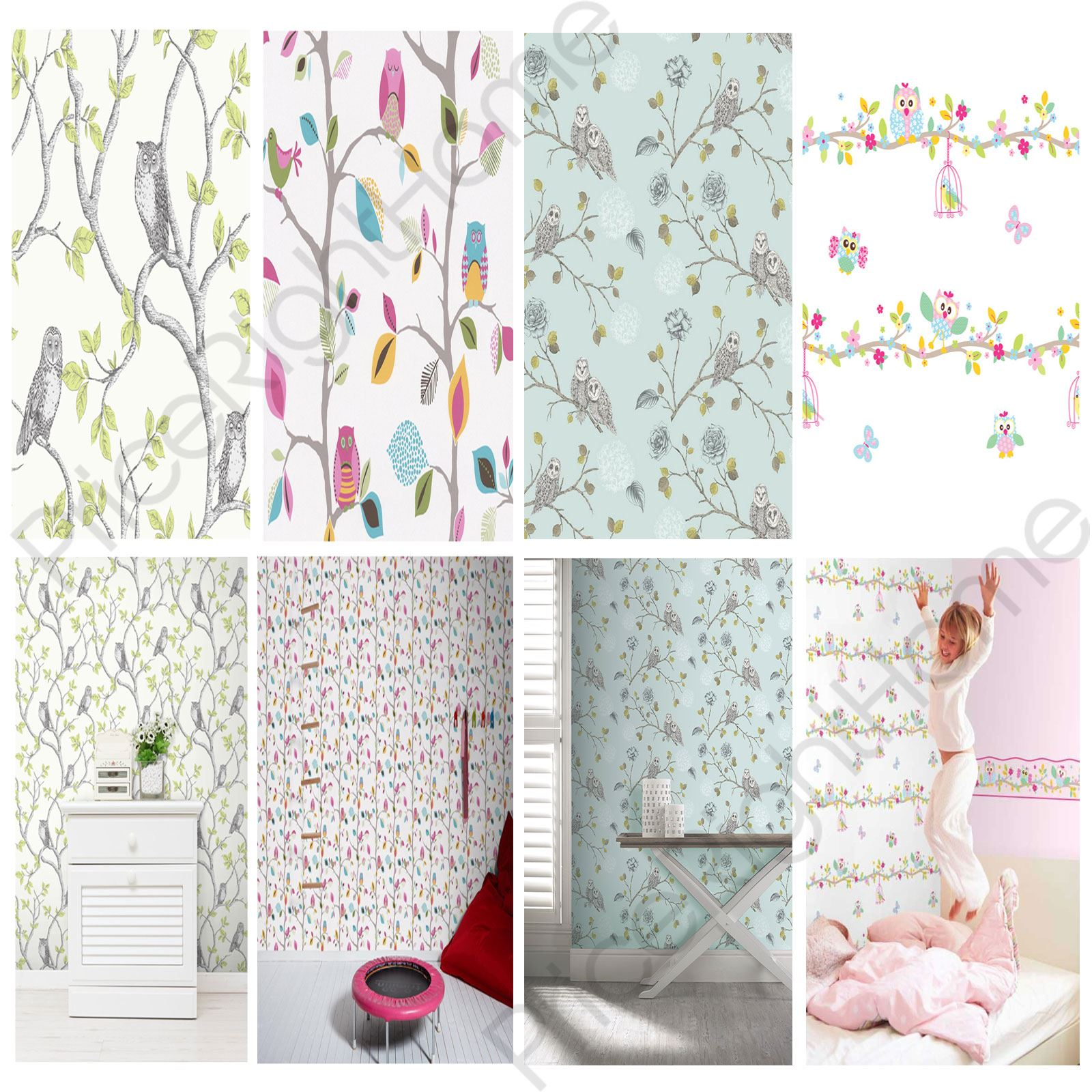 Details about owls wallpaper choose from 6 designs new wall decor feature wall free p p