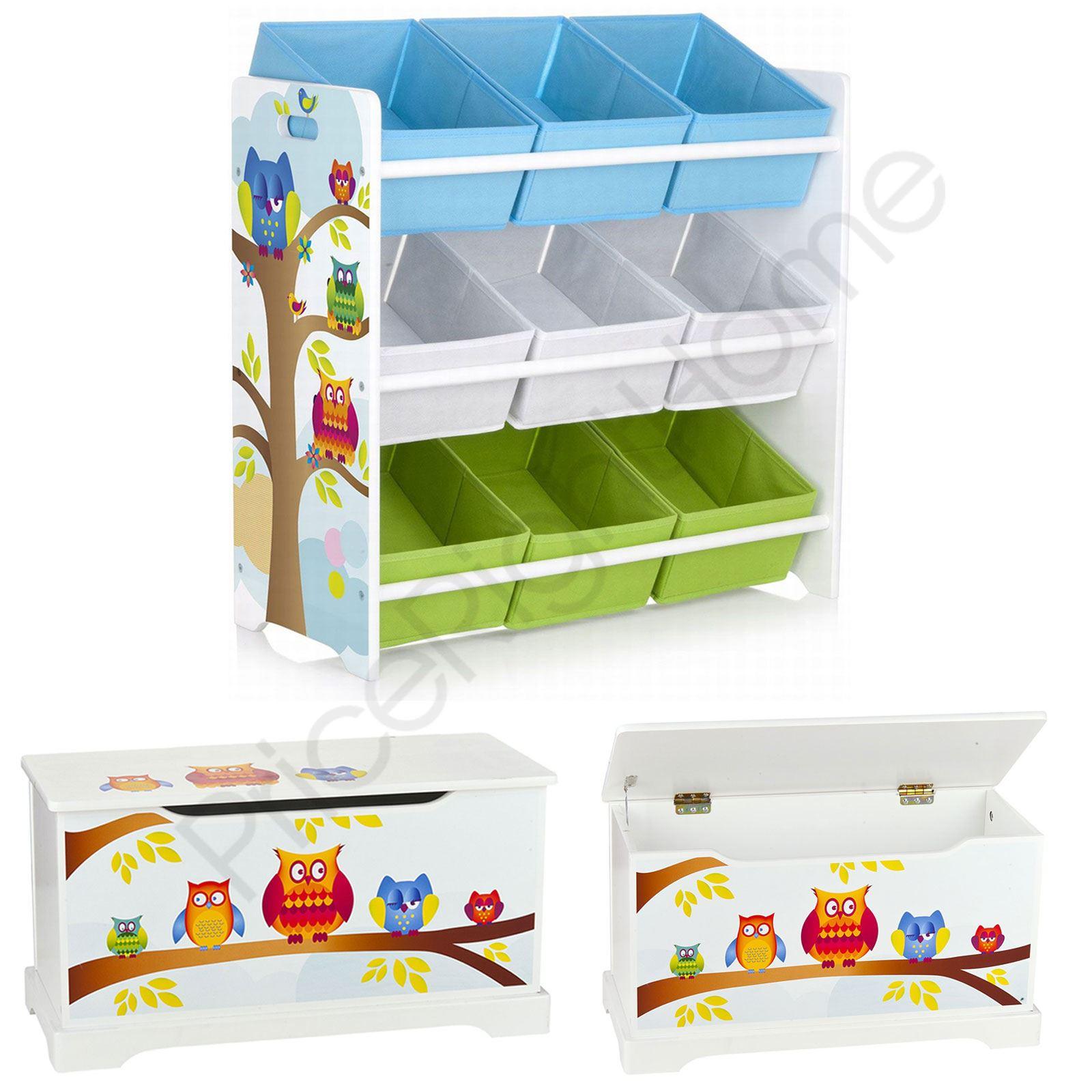 Wood Effect Kids Playroom Bedroom Storage Chest Trunk: WOODEN TOY BOX, 9 BIN STORAGE UNIT DRAWERS