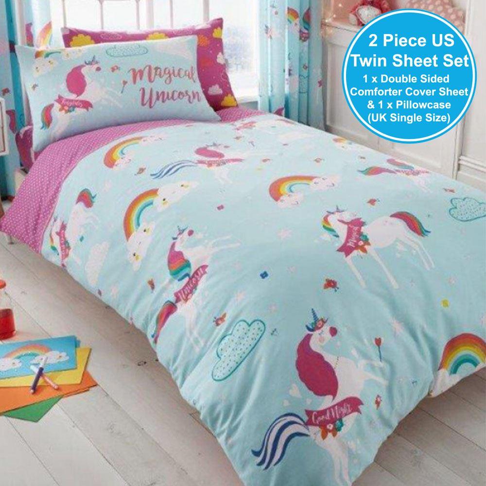 magical unicorn nuages filles set housse de couette simple drap housse ebay. Black Bedroom Furniture Sets. Home Design Ideas