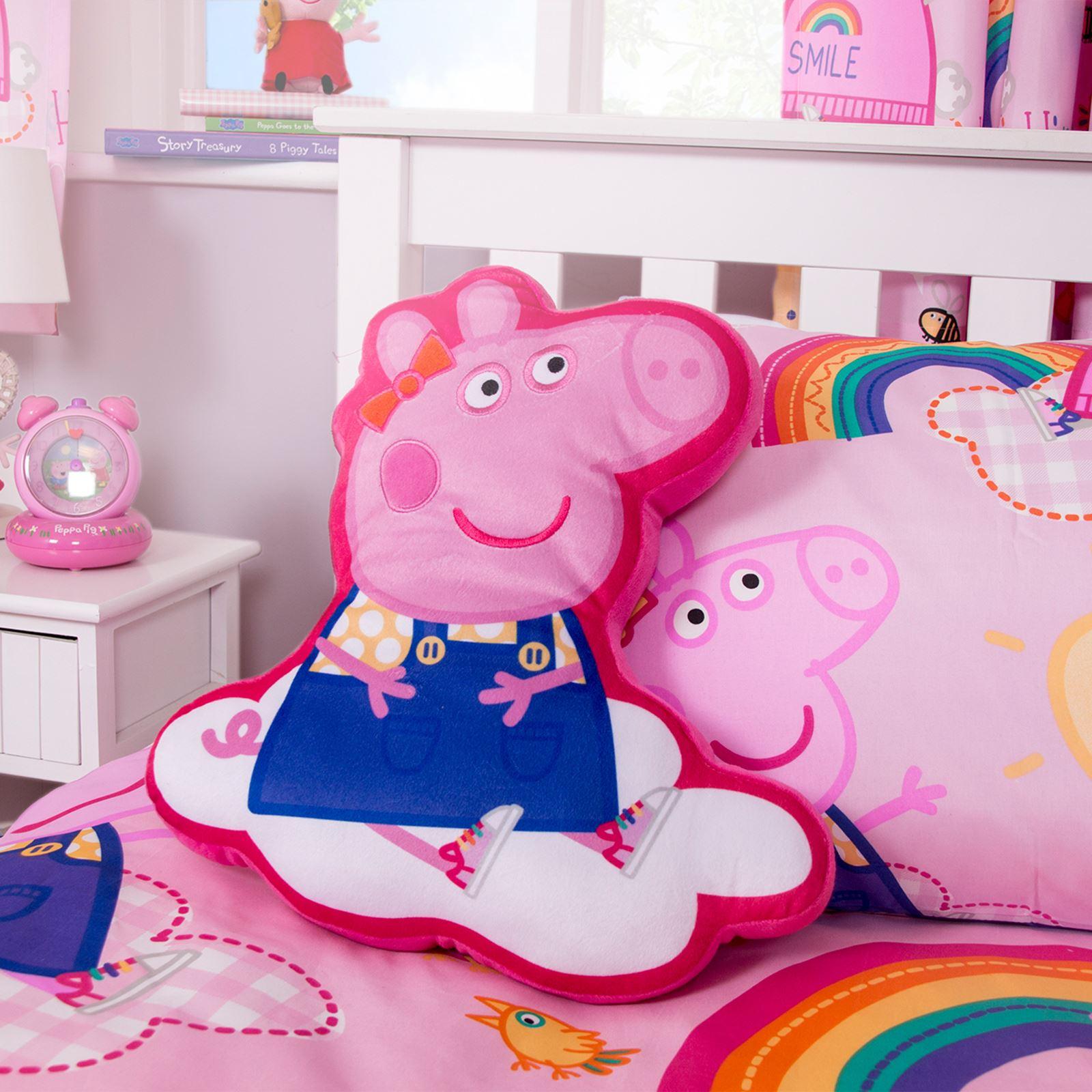 GIRLS CHILDRENS   RAINBOW PEPPA PIG    BEDROOM PILLOW FILLED CUSHIONS 40 x 40 cm