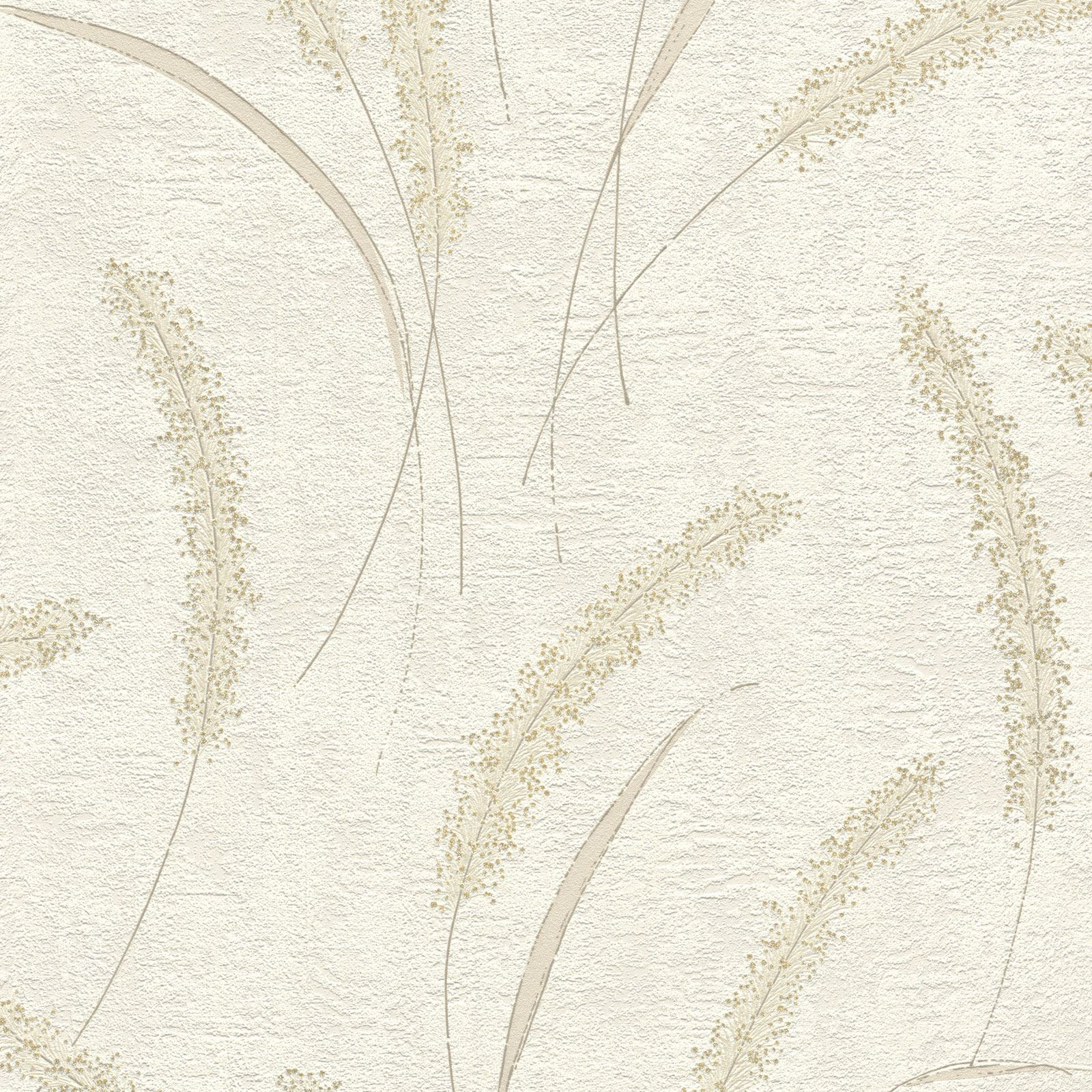 Glitter Floral Wallpaper Reed Like Flowers Taupe White Rasch