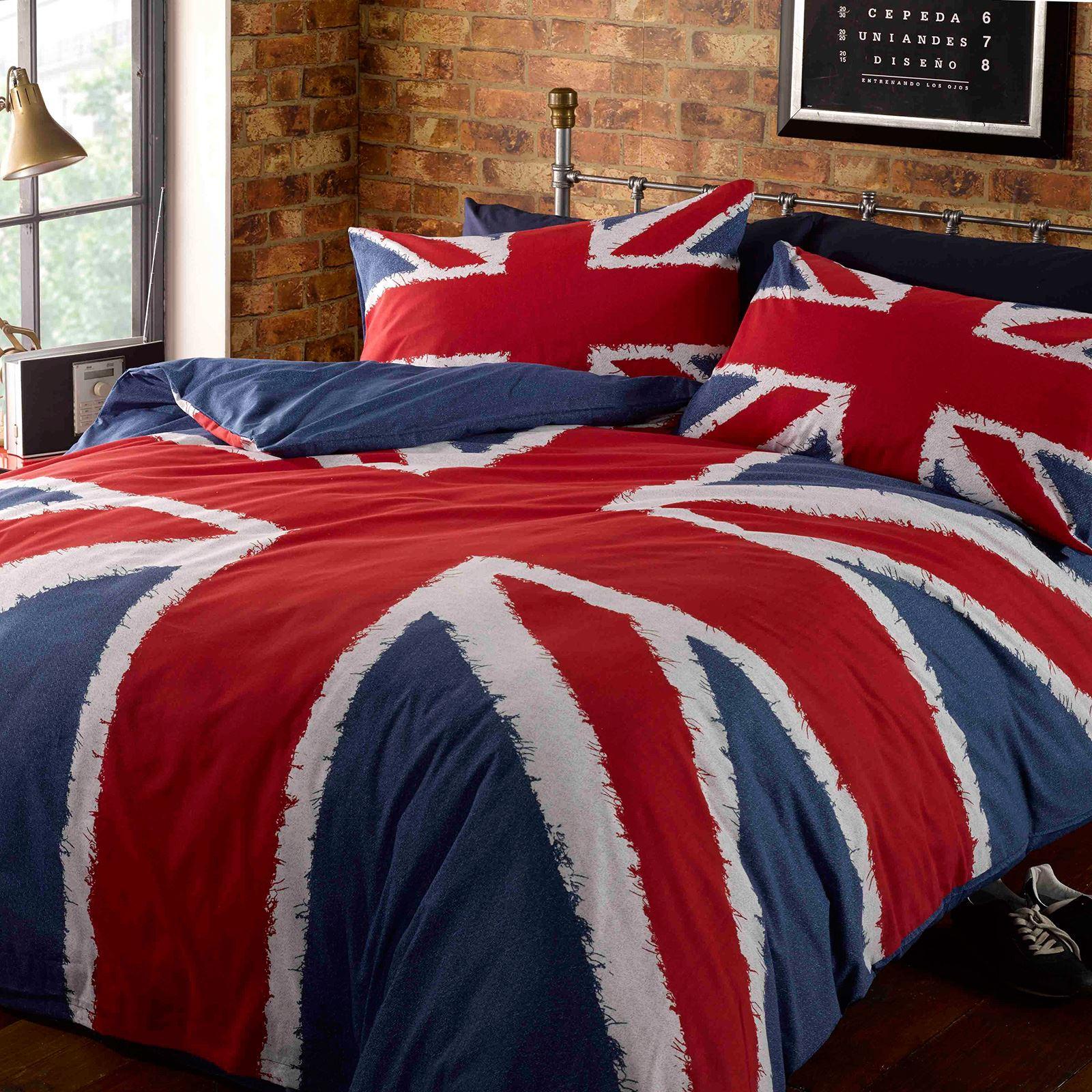 London-Bus-Angleterre-UK-Union-Jack-Housse-de-couette-ensembles-Simple-Double-Et-King-Size