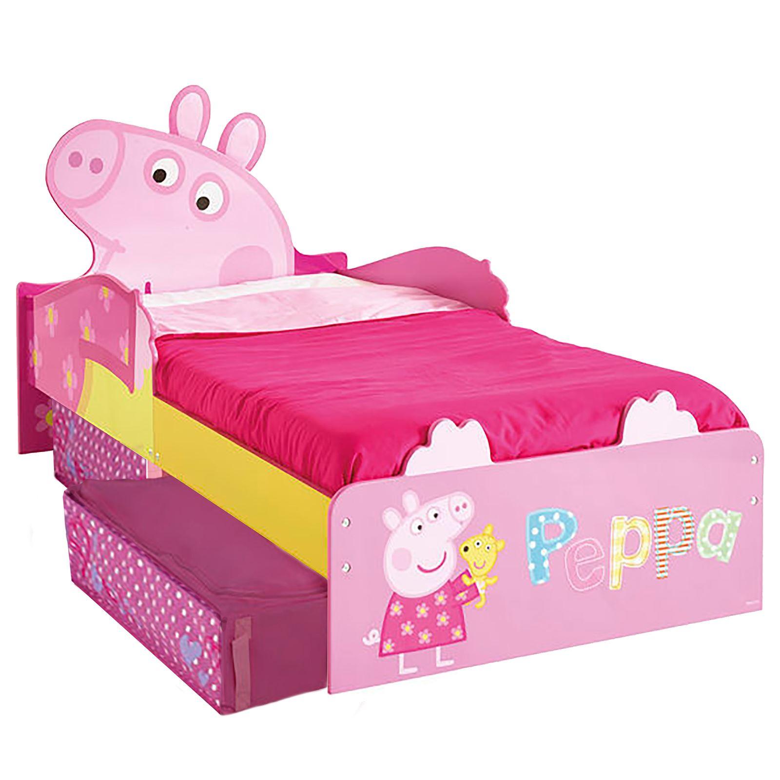 disney toddler bed with storage  mattress  cars peppa minnie  - disneytoddlerbedwithstoragemattresscarspeppa