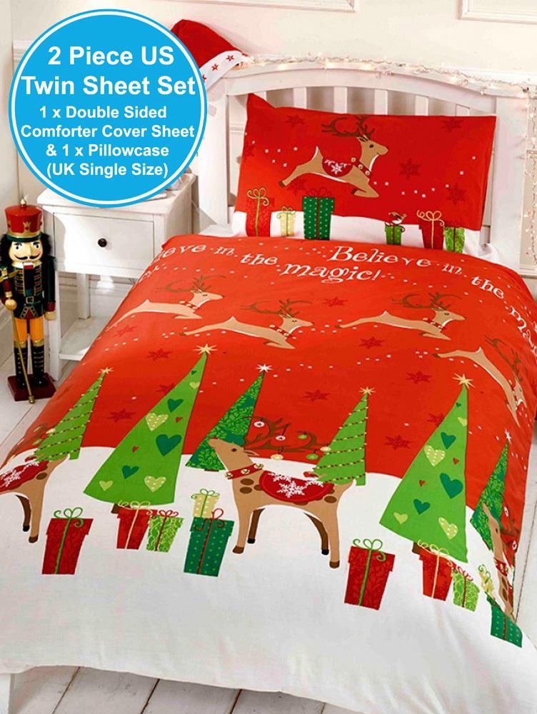 Christmas Duvet Cover Sets Snowman Santa Reindeer Emoji