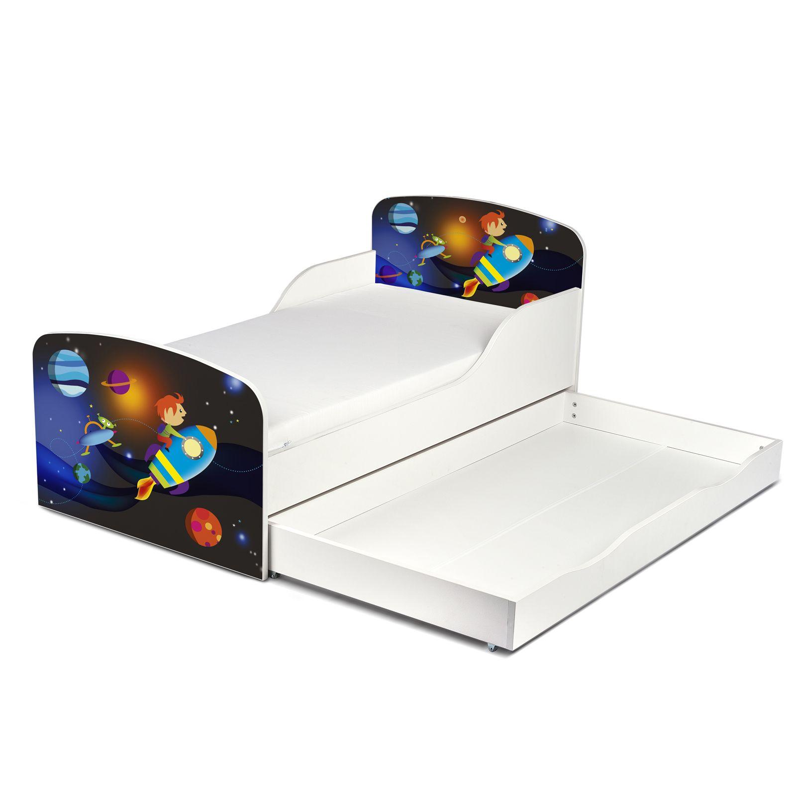 rakete mdf kleinkind bett mit unterbett aufbewahrung matratze ebay. Black Bedroom Furniture Sets. Home Design Ideas