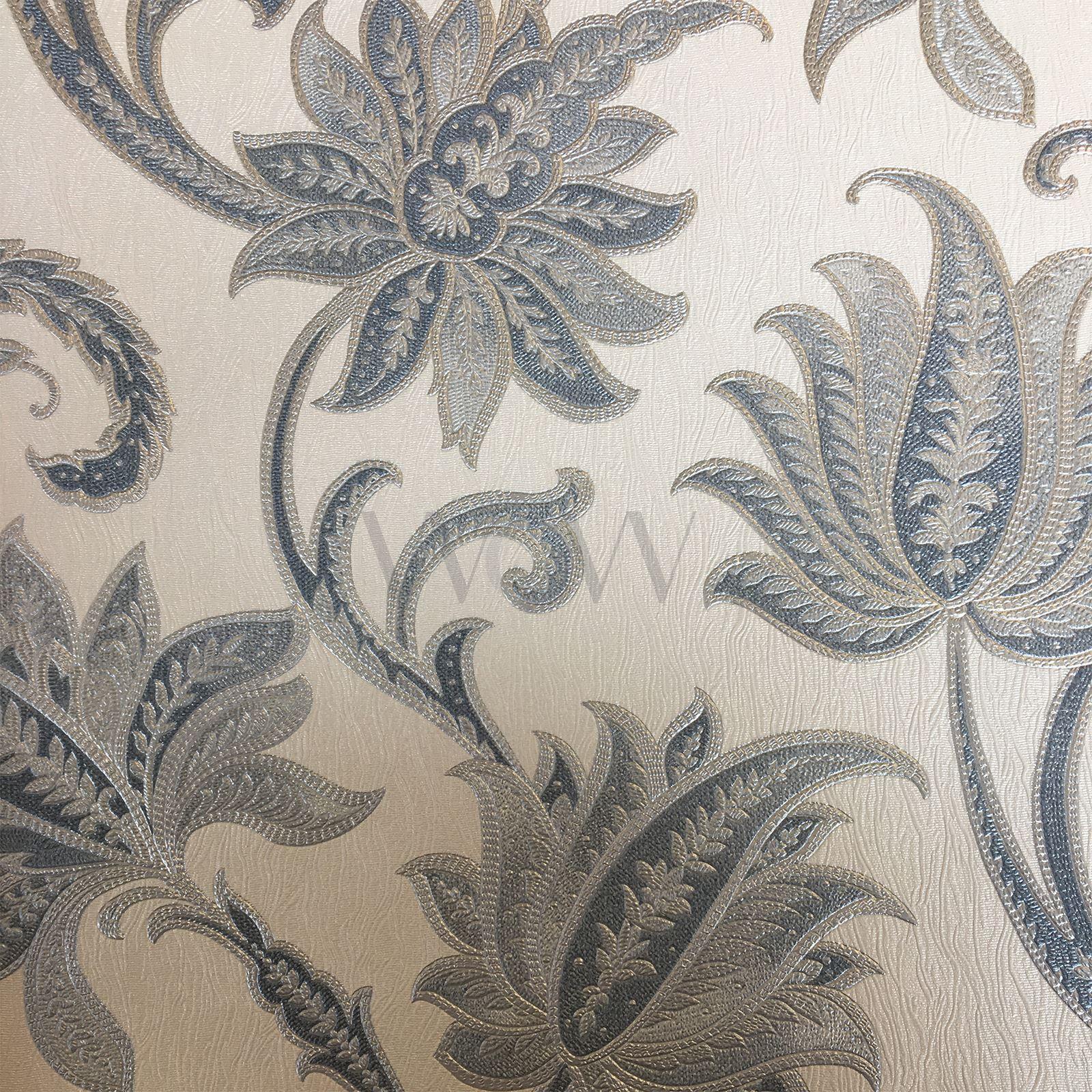 blau silber sorrento blumen spur schwer vinyl tapete rasch 519327 neu ebay. Black Bedroom Furniture Sets. Home Design Ideas