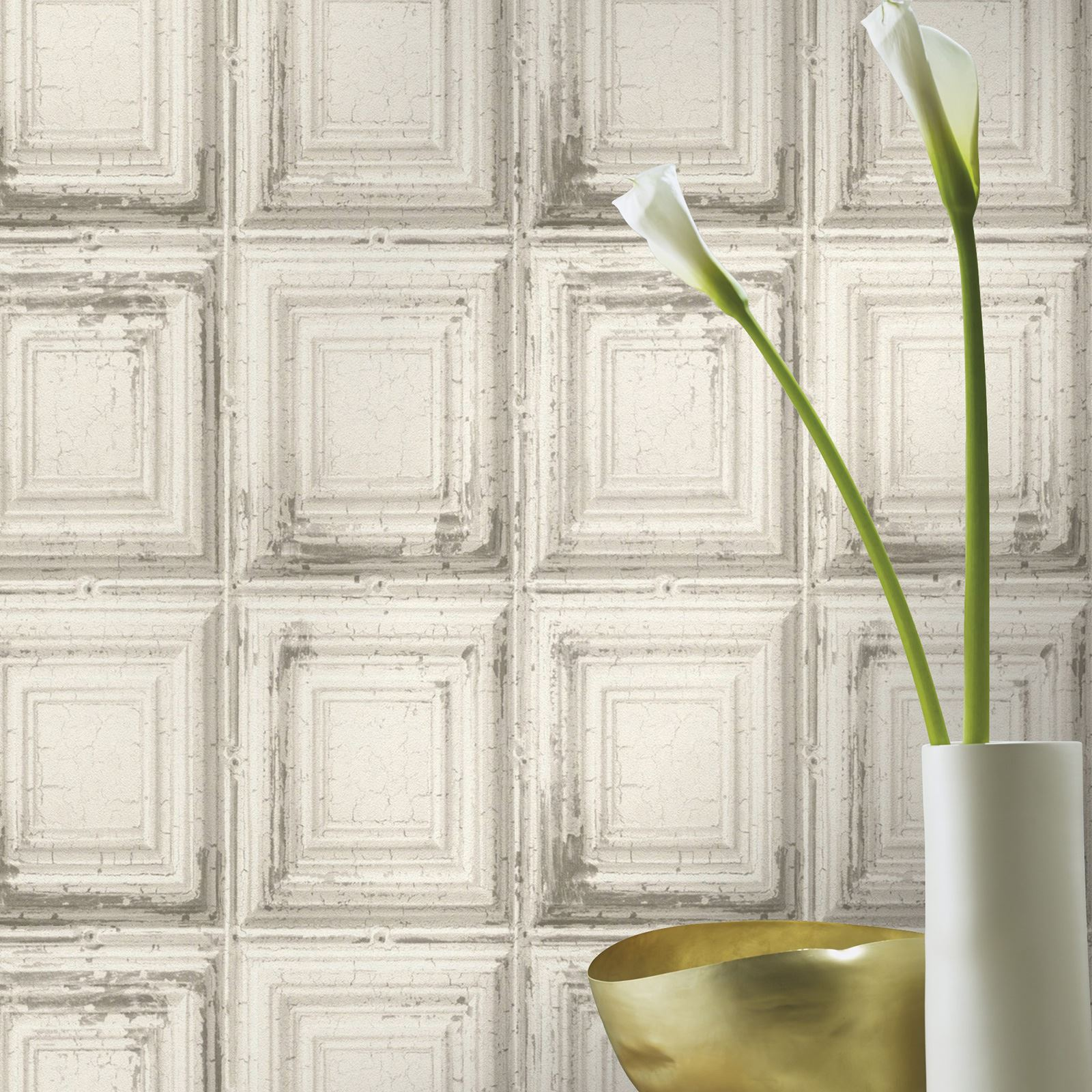 Rasch Distressed Wood Panel Wallpaper Grey White Available