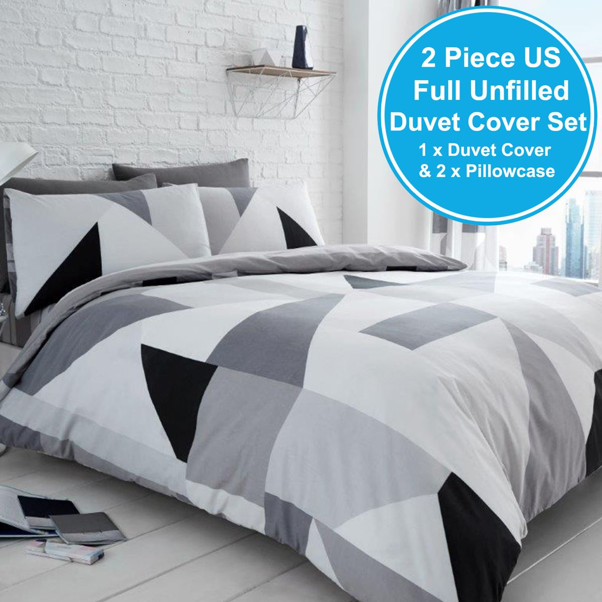 SYDNEY GEOMETRIC DOUBLE DUVET COVER SET BEDDING BLACK WHITE GREY