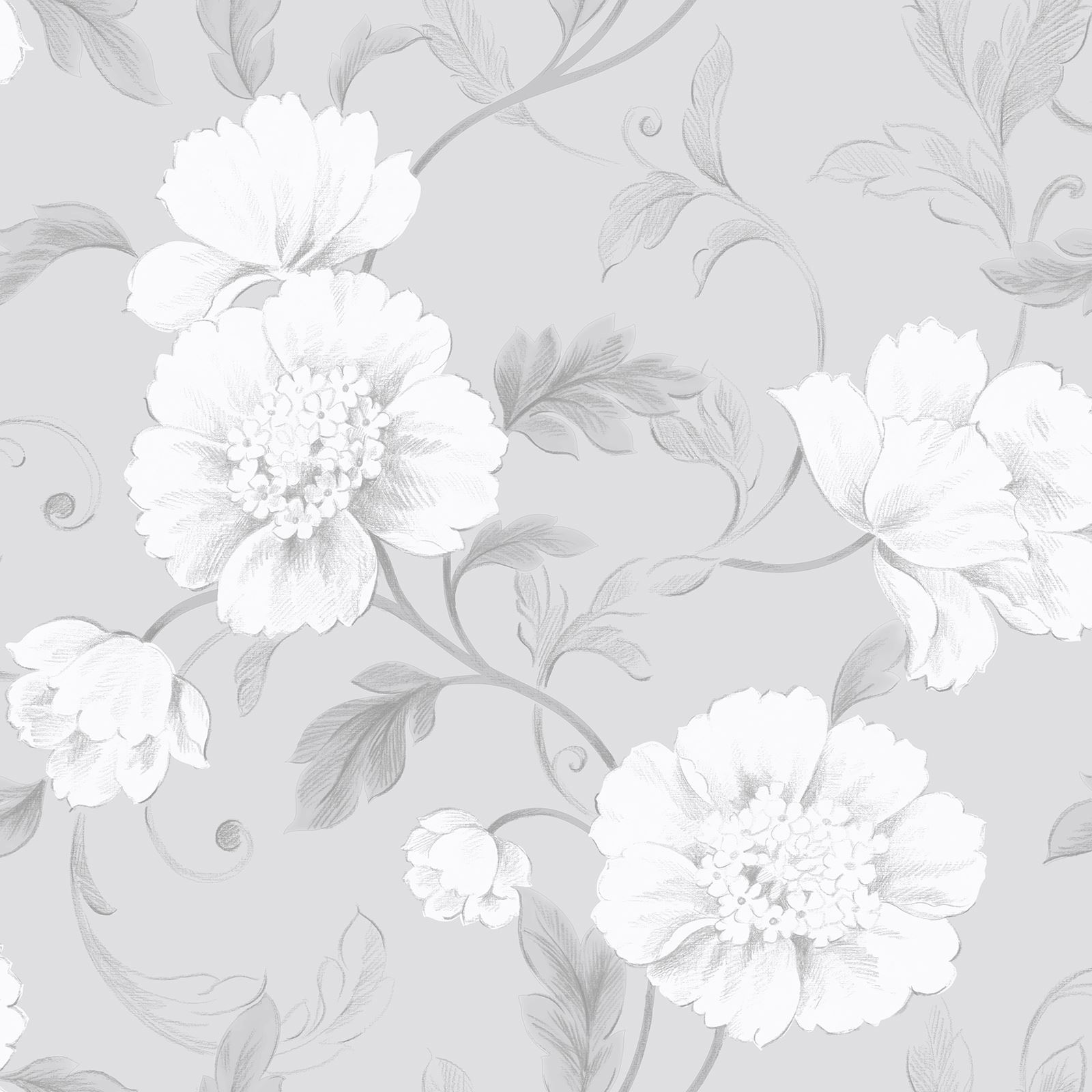BOUTIQUE FLORAL WALLPAPER GREY - RASCH 226188 FLOWERS ...