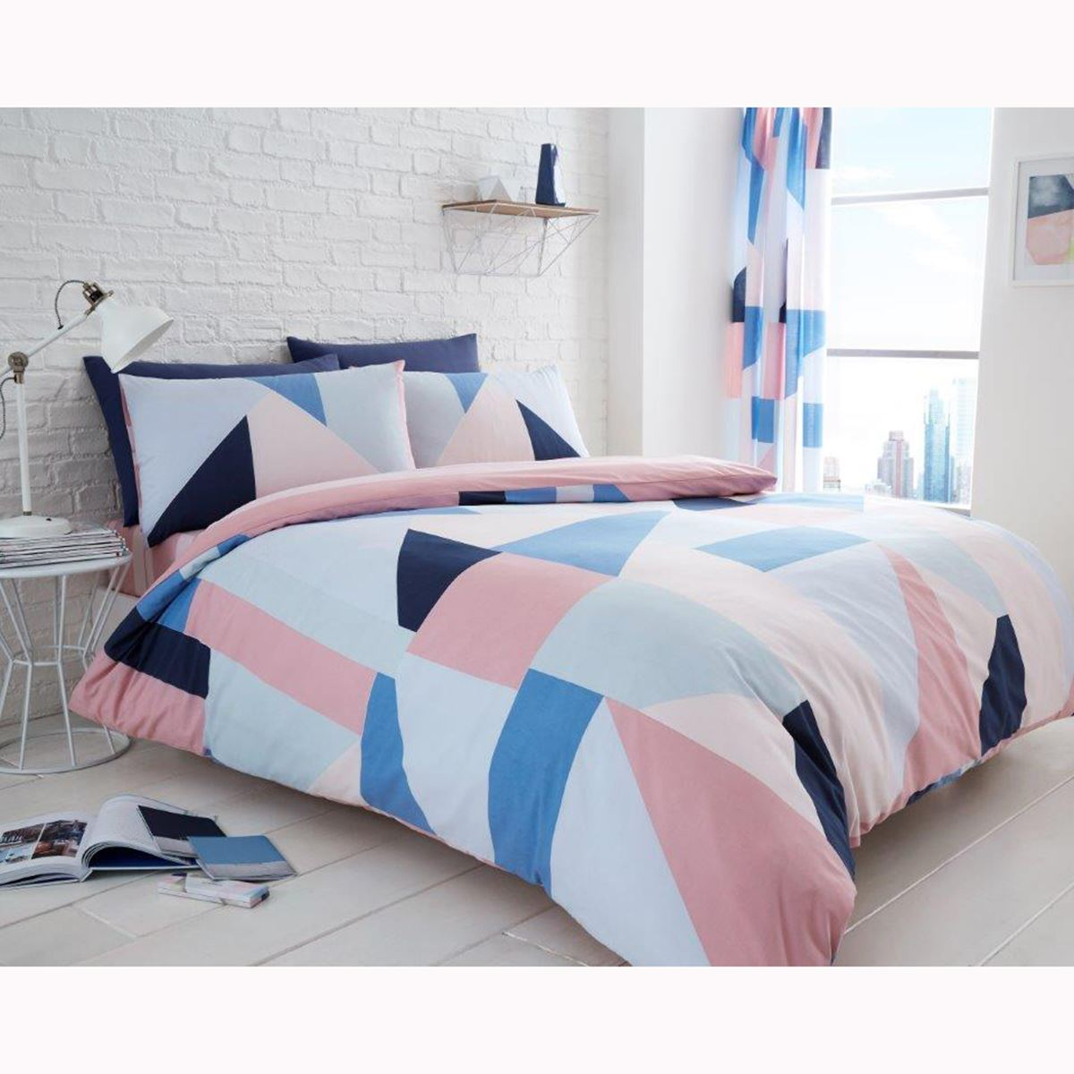 SYDNEY GEOMETRIC DUVET COVER SET BEDDING GREY BLUE